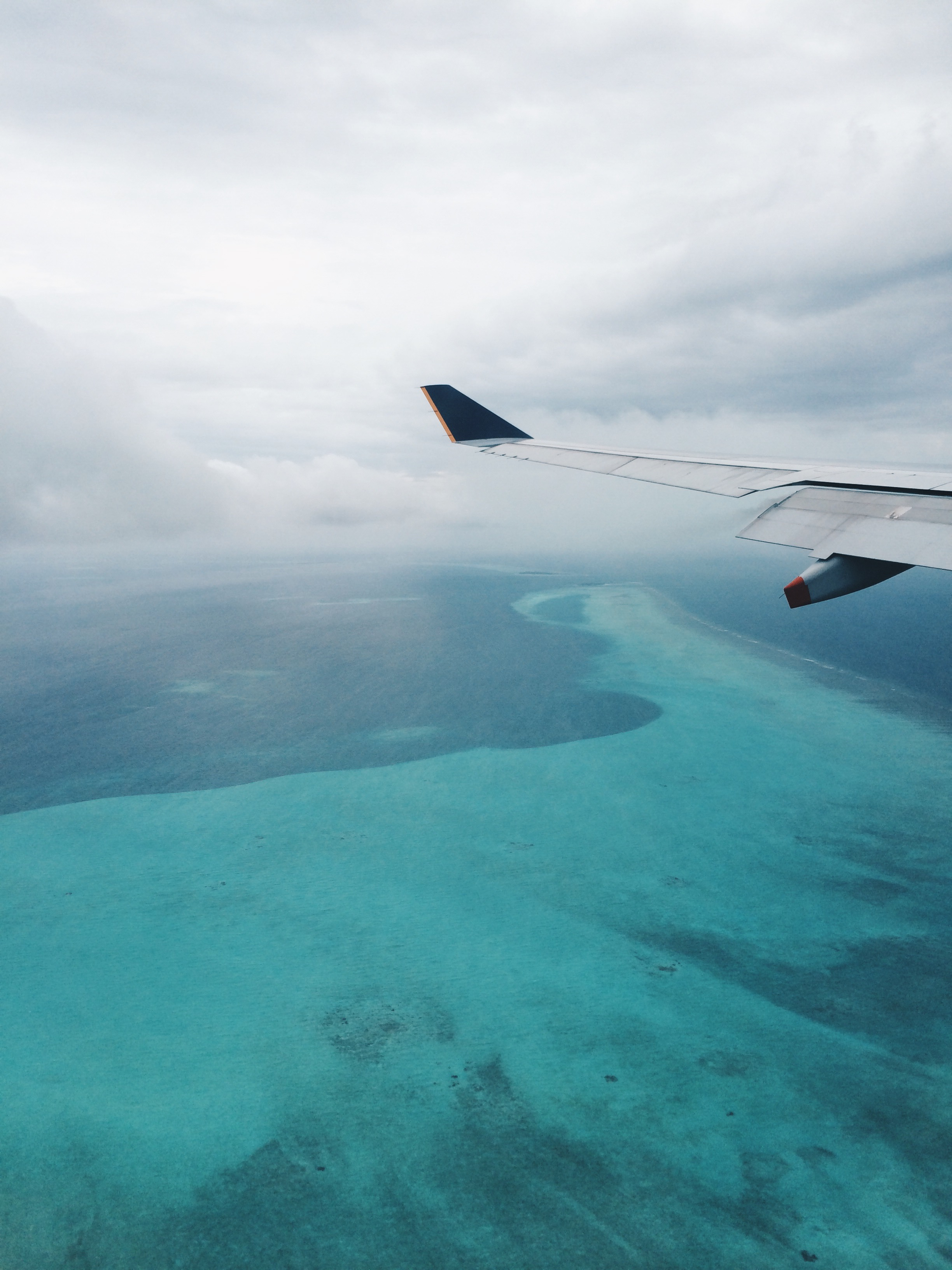 Flying into stunning turquoise waters