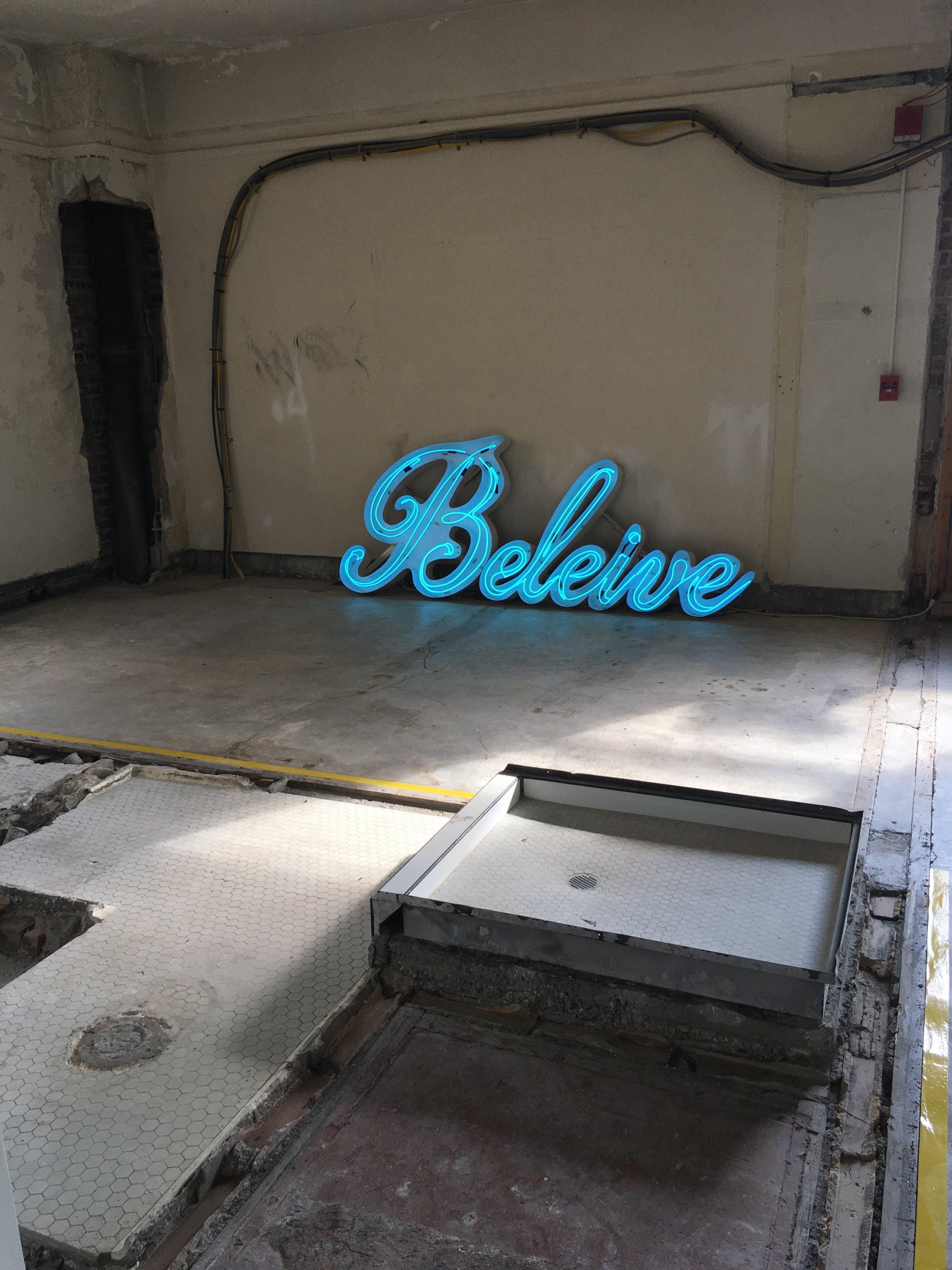 Zac Weinberg's , 'Believe', 2016. Neon, Metal. Dimensions Unknown.
