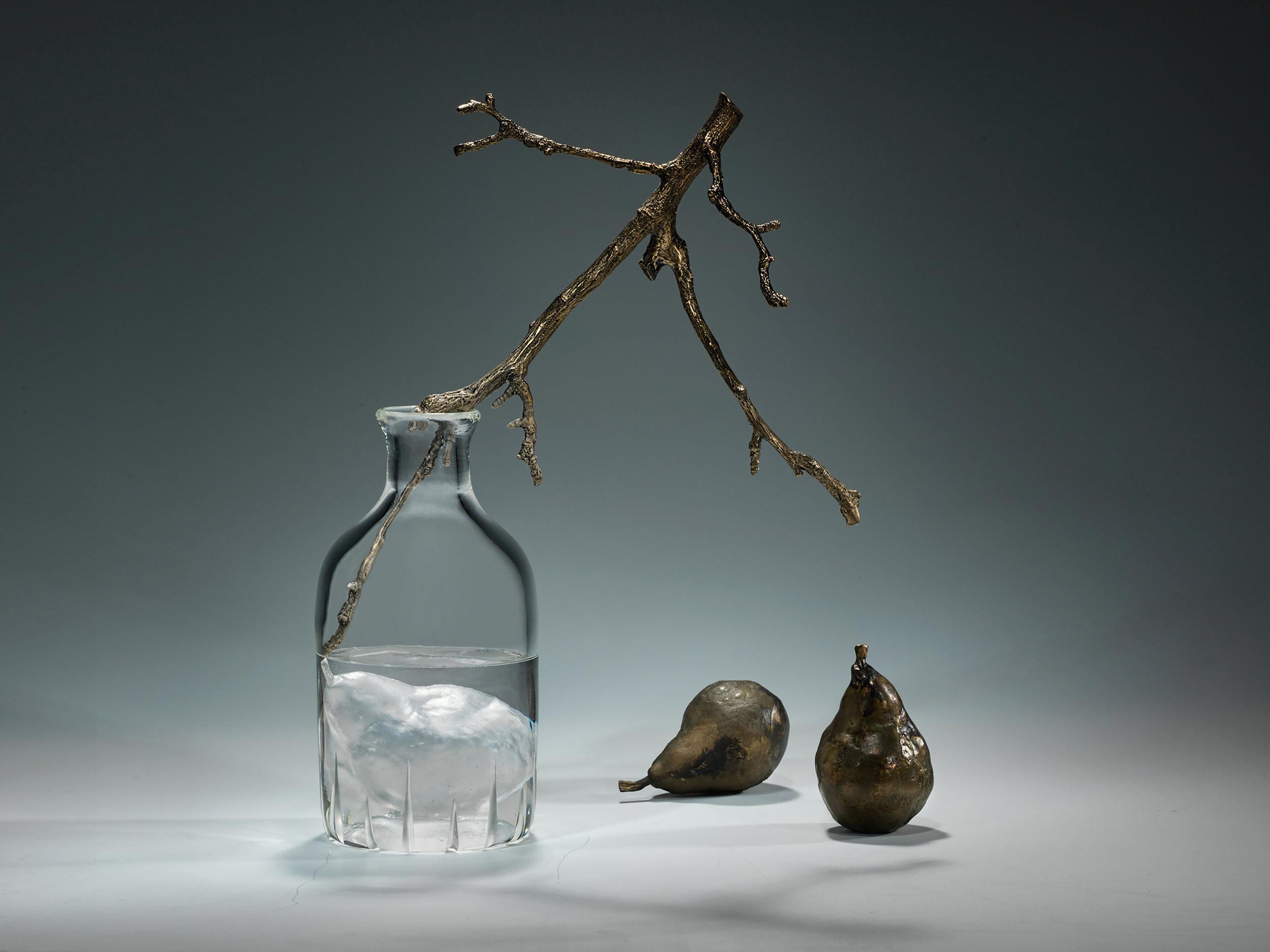 "'Bottled Pear', 2018, Cast + Blown Glass / Cast Bronze / Patina, 16"" x 11"" x 5"""