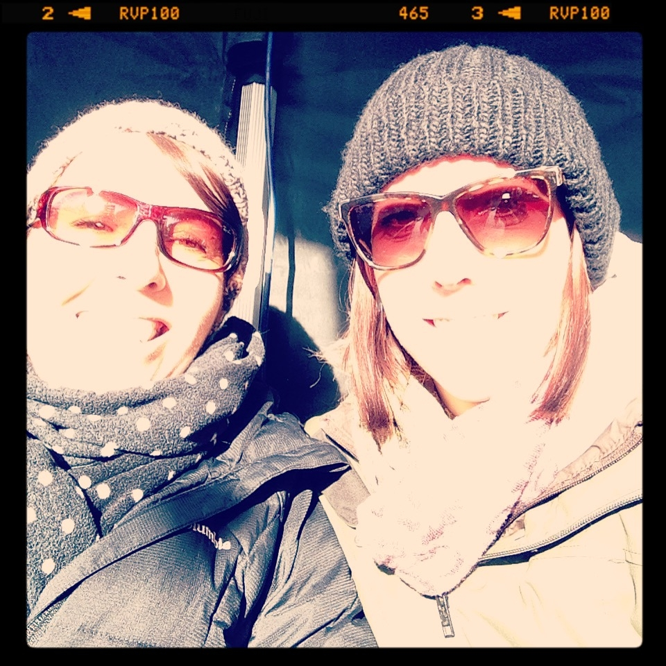 Mummy B and I on a cold, winters day.