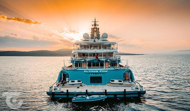 Awesome shot at sunset of our 6.8m custom Washdown Tender for the 136m superyacht Flying Fox 🦊 | Photo @superyachttimes #flyingfox #luerssen #superyacht #tender #pascoe #design