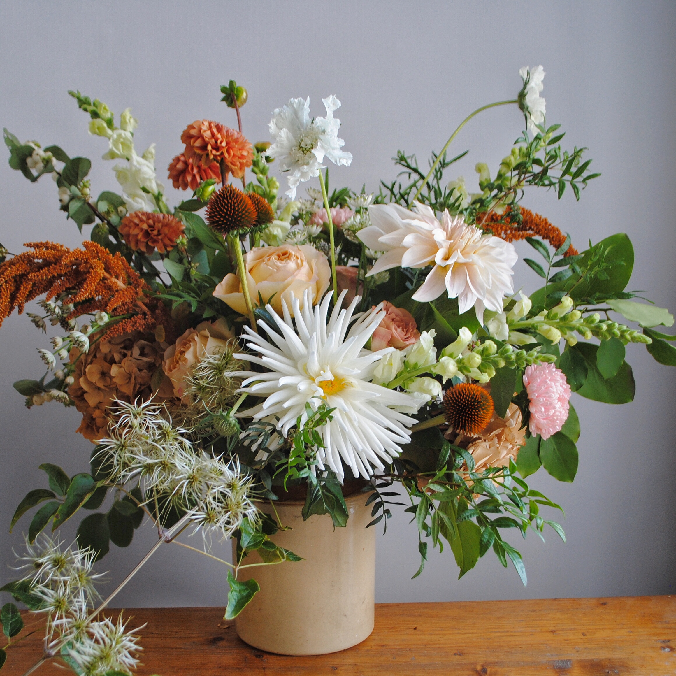 Natures Beauty - Floral Styling  - Saturday 26th October. £65.00pp10am -1pm / 2pm - 5pmWith the changing colours and richness in the foliage and autumn blooms we invite you to join us for a workshop of floral styling.As part of the workshop I will talk about flower choice and care, demonstrate several flower arranging techniques suitable for a variety of different containers and demonstrate how to style a mantelpiece and table for an autumn supper.With your newly learnt techniques you will then have the opportunity to create your own stunning arrangement full of autumn blooms and foliages to take home with you.This workshop is run in collaboration with 19 Gather and Create and will be run from The Princes Hall in Clevedon.Follow the link below for more information and to book your place.