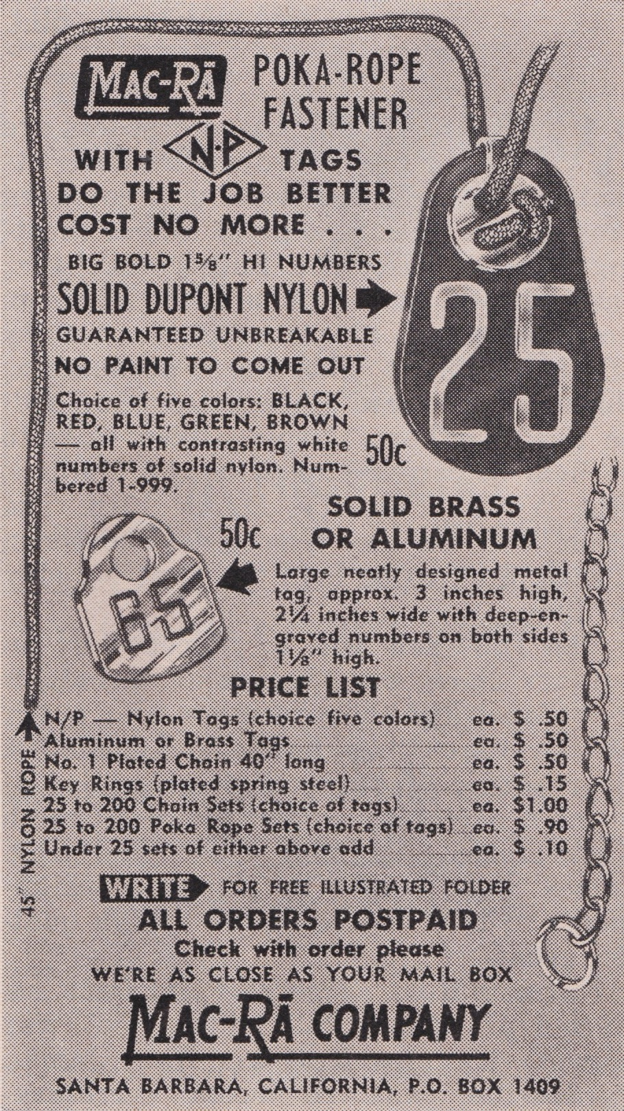 Early 1950's—Interesting that solid brass and nylon tags were same price.