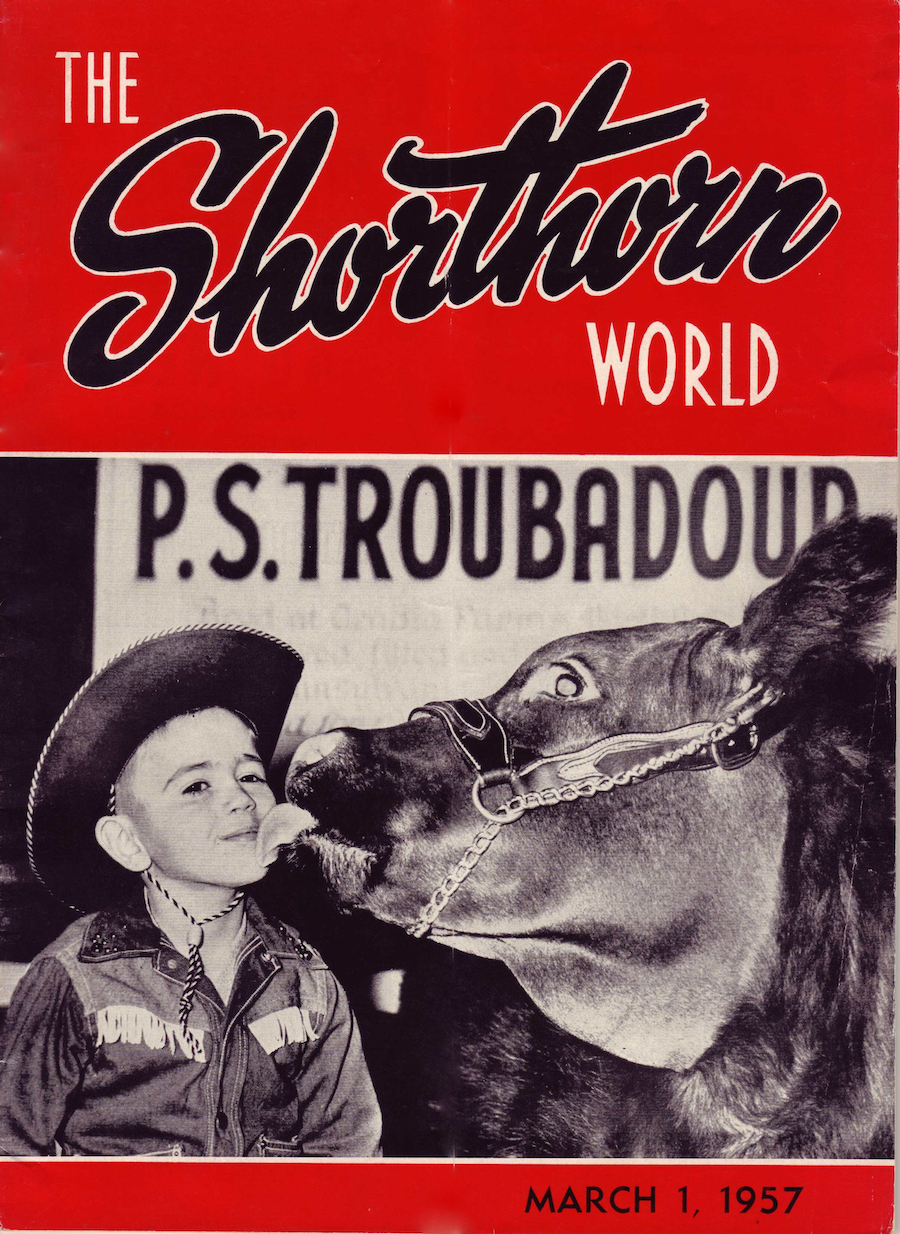 """Intl. Grand Champion PS Troubadour with a 5 yr. old friend (John """"Speedy"""" Fought)."""