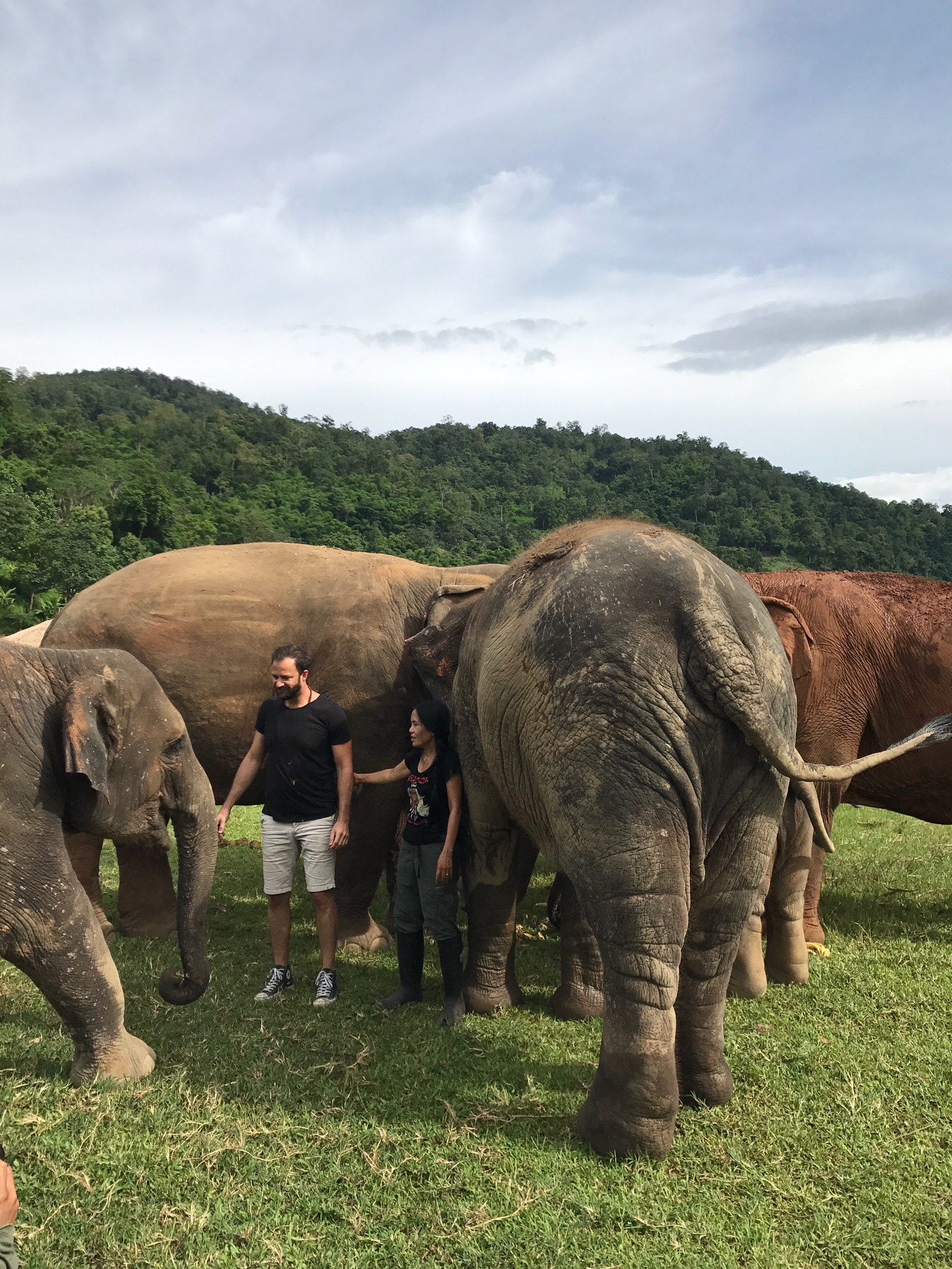 Matthew Shapira with Lek meeting the locals at Elephant Nature Park in Thailand.