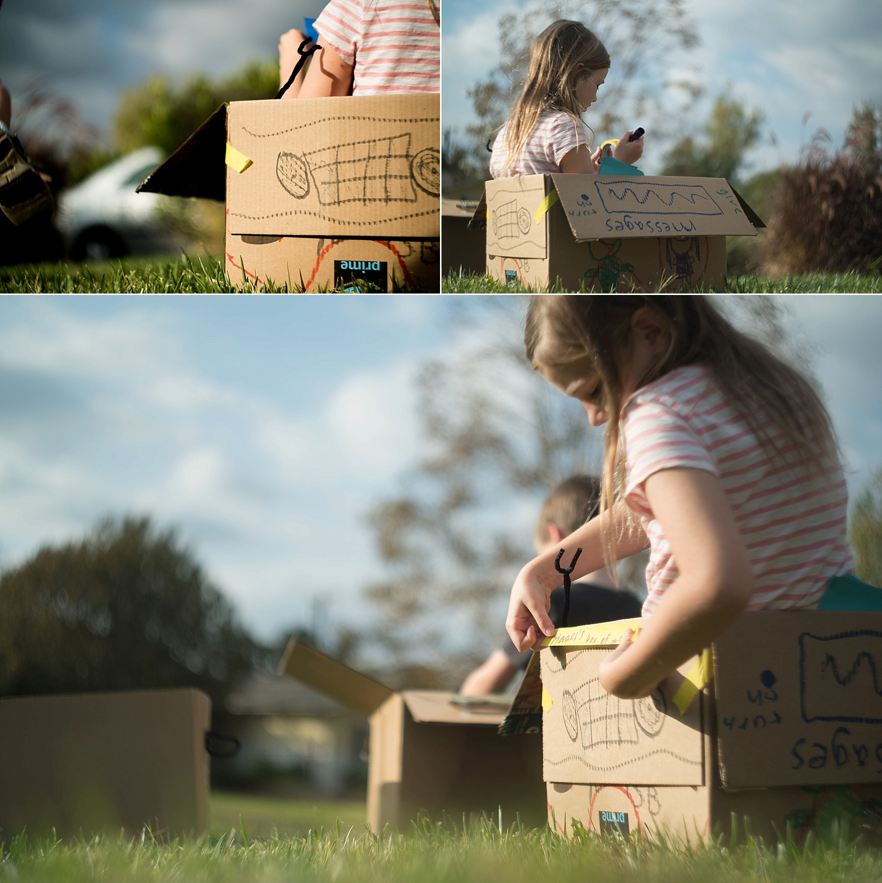 A collage of pretty documentary photos of children playing with boxes and using their imaginations by Erica Faith Photography in Claremont, CA