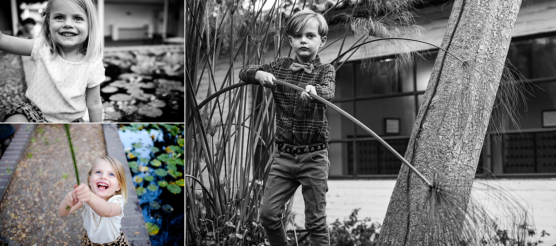 Children play with nature during family photos at Scripps College in Claremont, CA