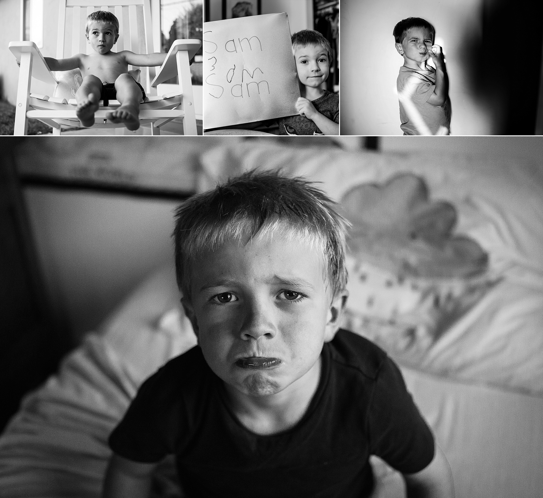 A black and white environmental portrait of my boy shows the emotion on his face with the cloudy pillow behind him.