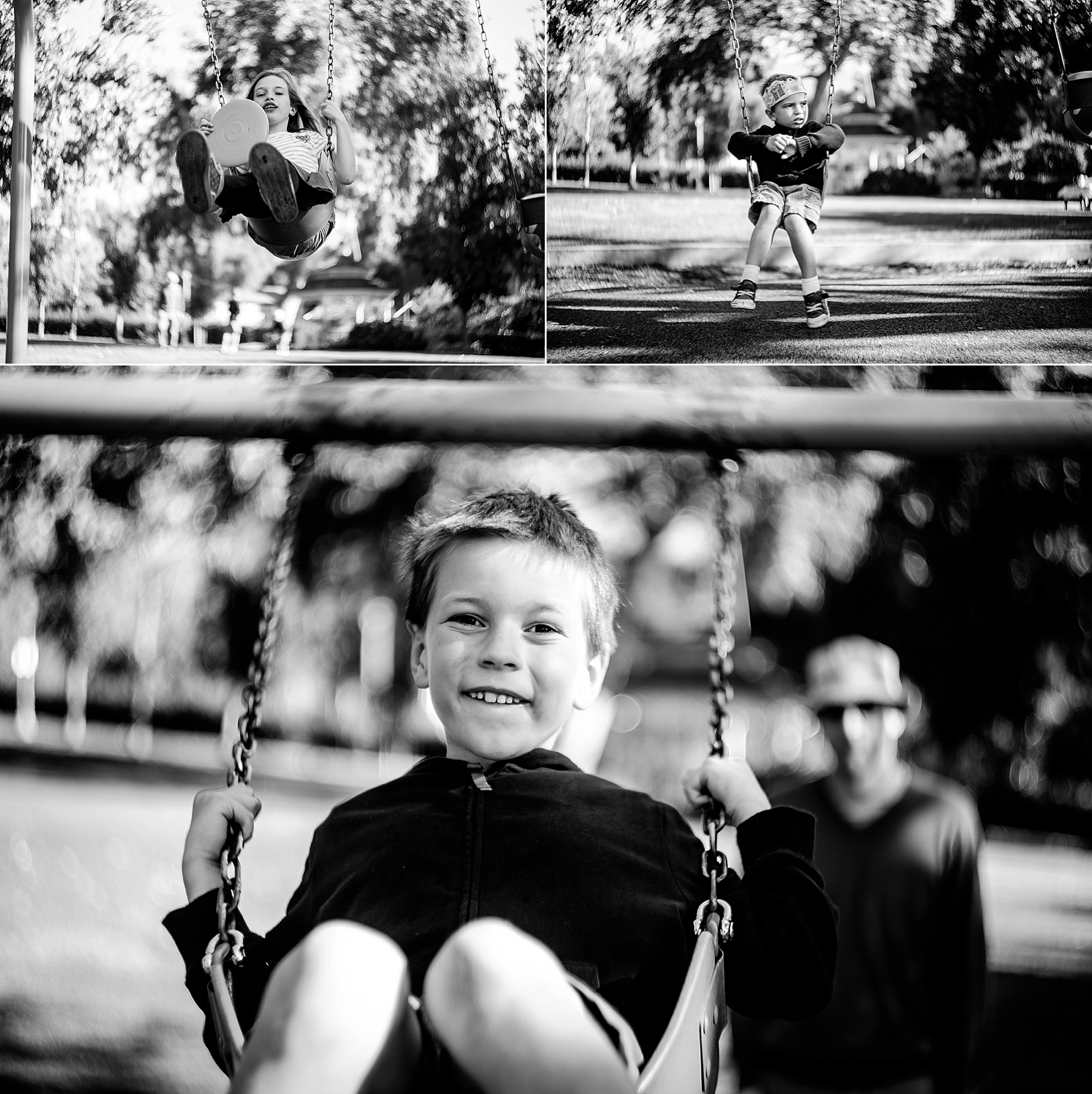 Black and white photos of children on a swing at a park in La Verne, CA