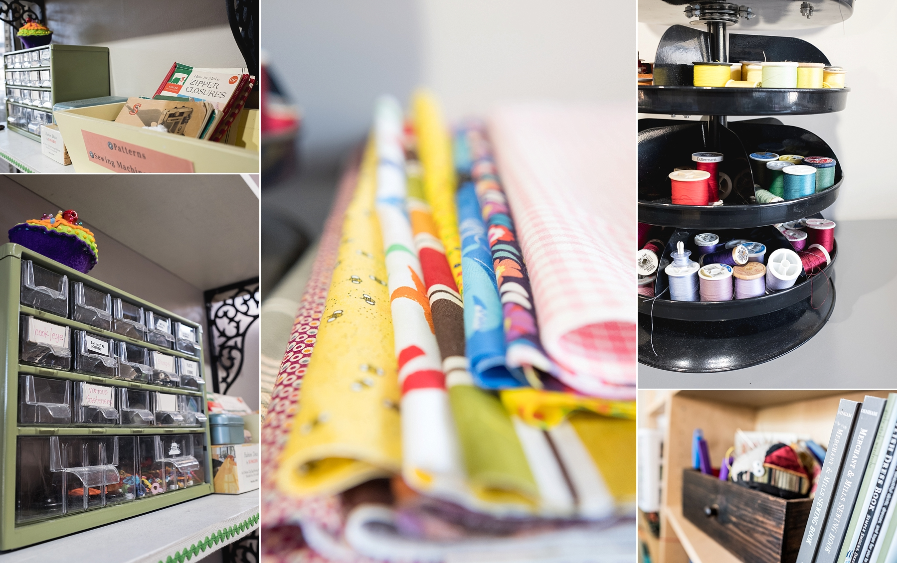 Detail shots of a boutique sewing store in Claremont, CA by Erica Faith Photography
