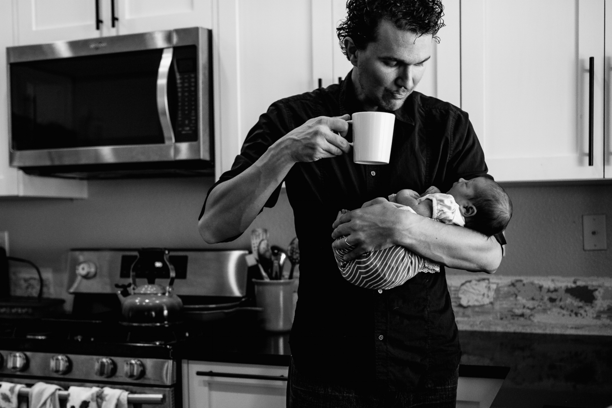 A father gets used to life with his newborn.