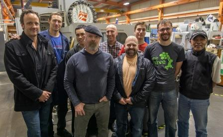 Jamie Hyneman of Discovery Channel's MythBusters visits TRIUMF, pictured here with technical team.