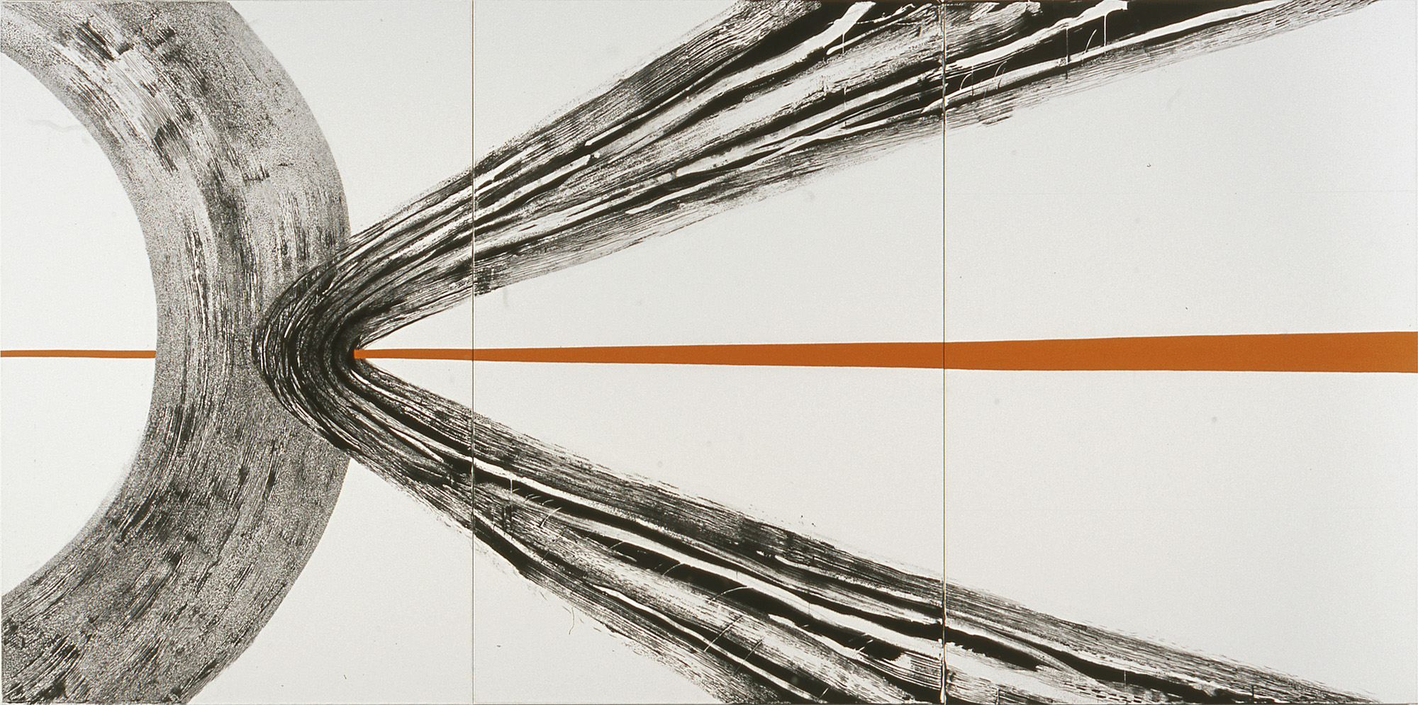 Gnist - 180x360 cm, tusj/penn/pensel/voks og akryl på bomulls/polyesterstoff