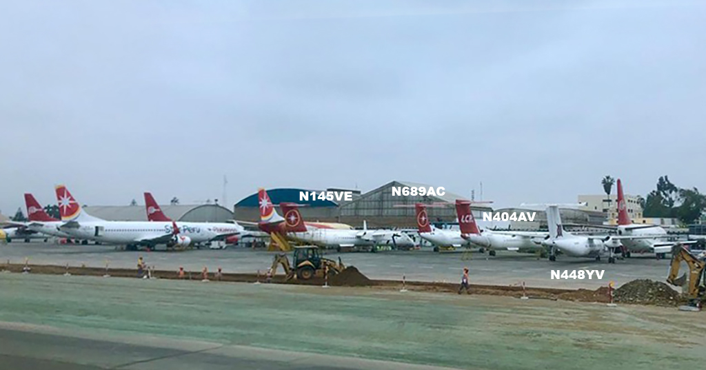 Left to Right at Lima; N145VE, N689AC, N404AV and N448YV which has gone to Ecuador