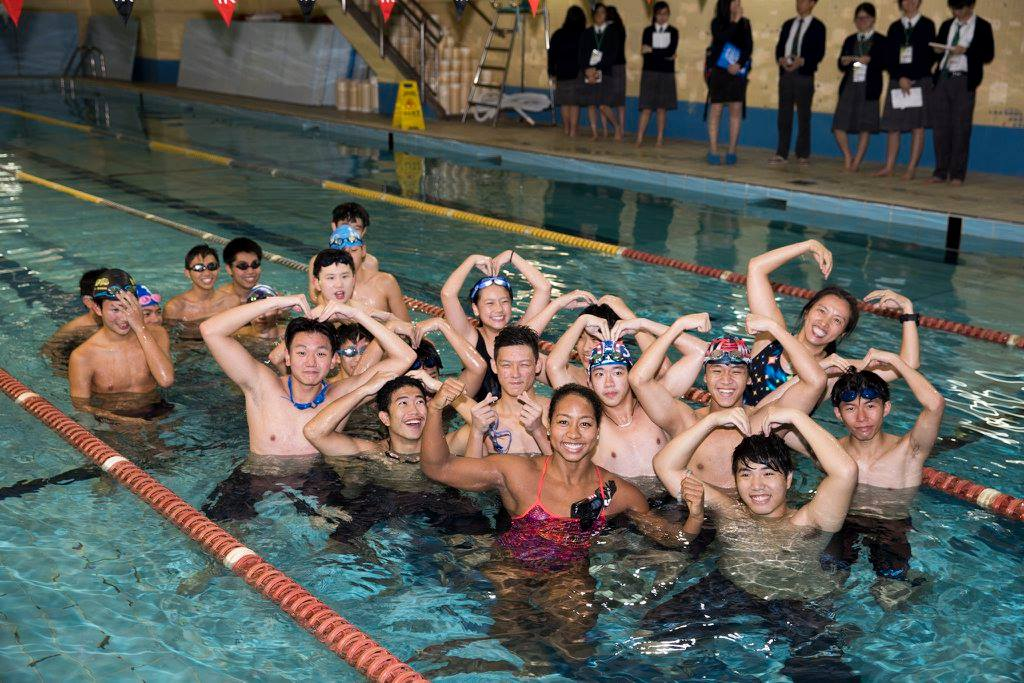 Sports Envoy and Olympic Swimmer, Lia Neal, leads swim workouts for youth in Hong Kong.  2017.