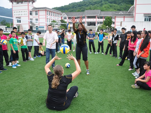 Alabama State University women's volleyball head coach Penny Lucas-White and assistant coach Valerie Armstrong lead a Sports Envoy training session for students in Chengdu, China. 2013
