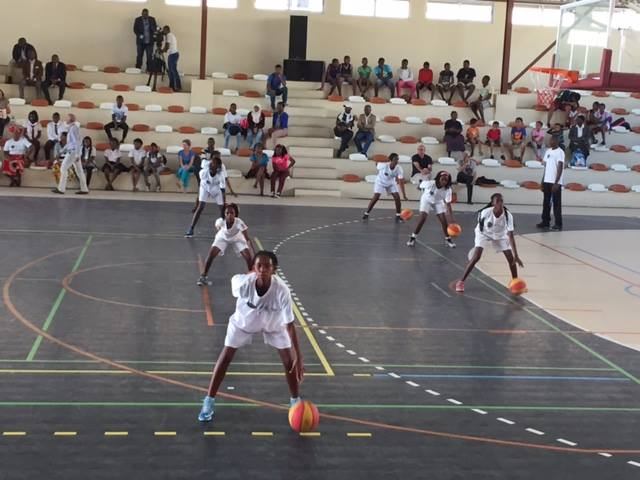 Youth in Mozambique participate in clinics lead by Sports Envoys Ruth Riley, Ebony Hoffman, and Ronald Cass III. 2015.