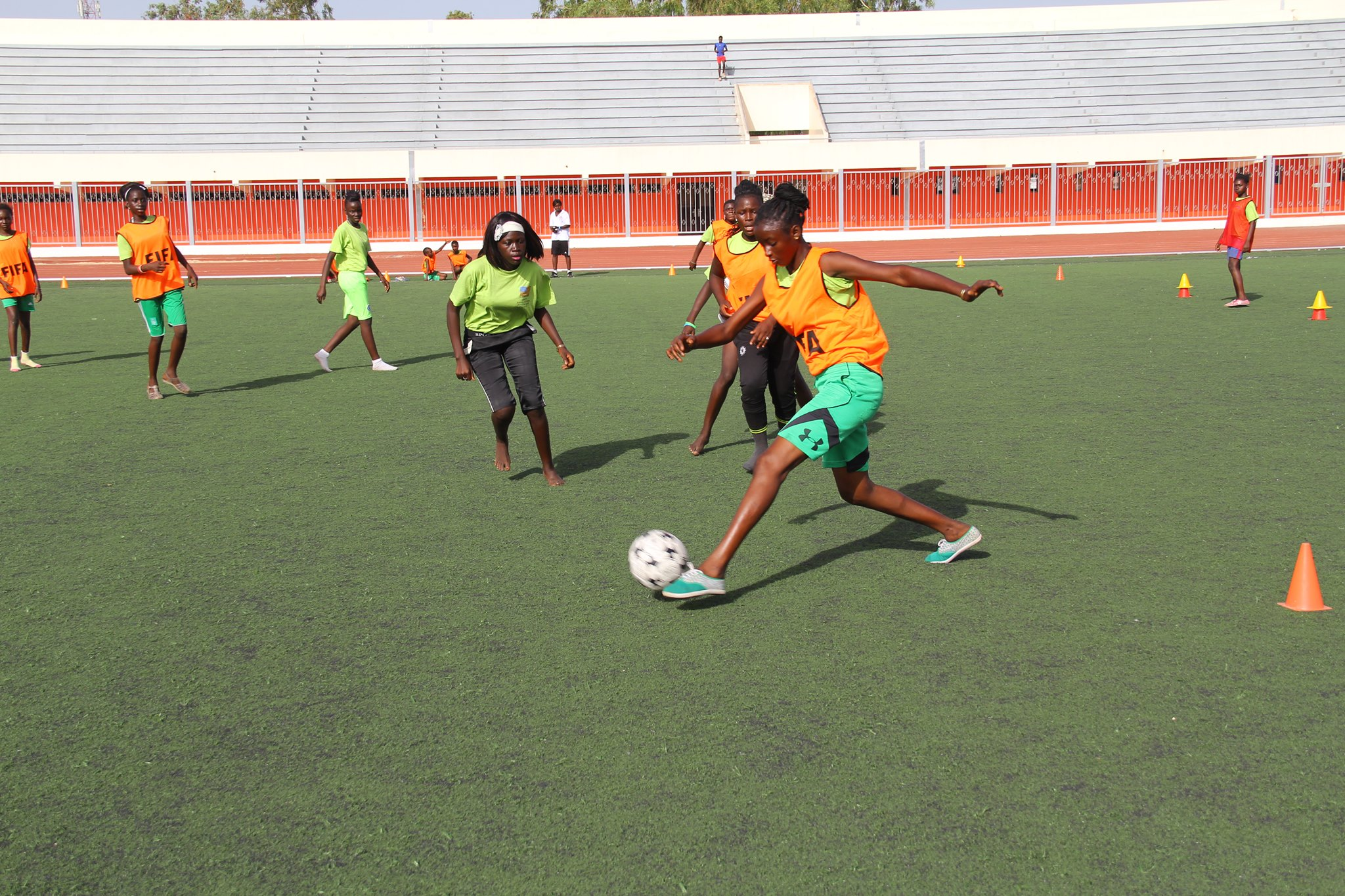 Sports Envoys and former U.S. Women's National Team members, Zola Solamente and Staci Wilson, lead soccer clinics for youth in Senegal. 2016.