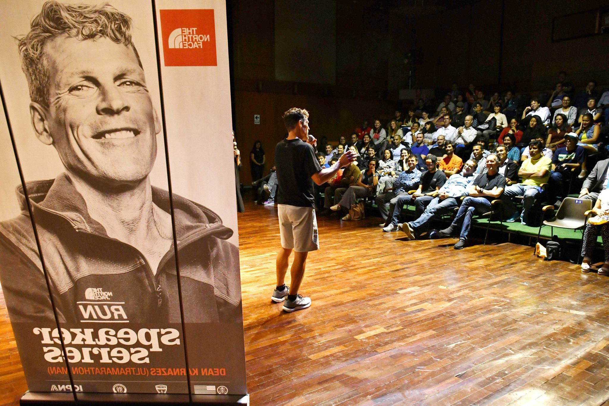 Dean Karnazes gives a talk to a group in Lima, Peru. 2017