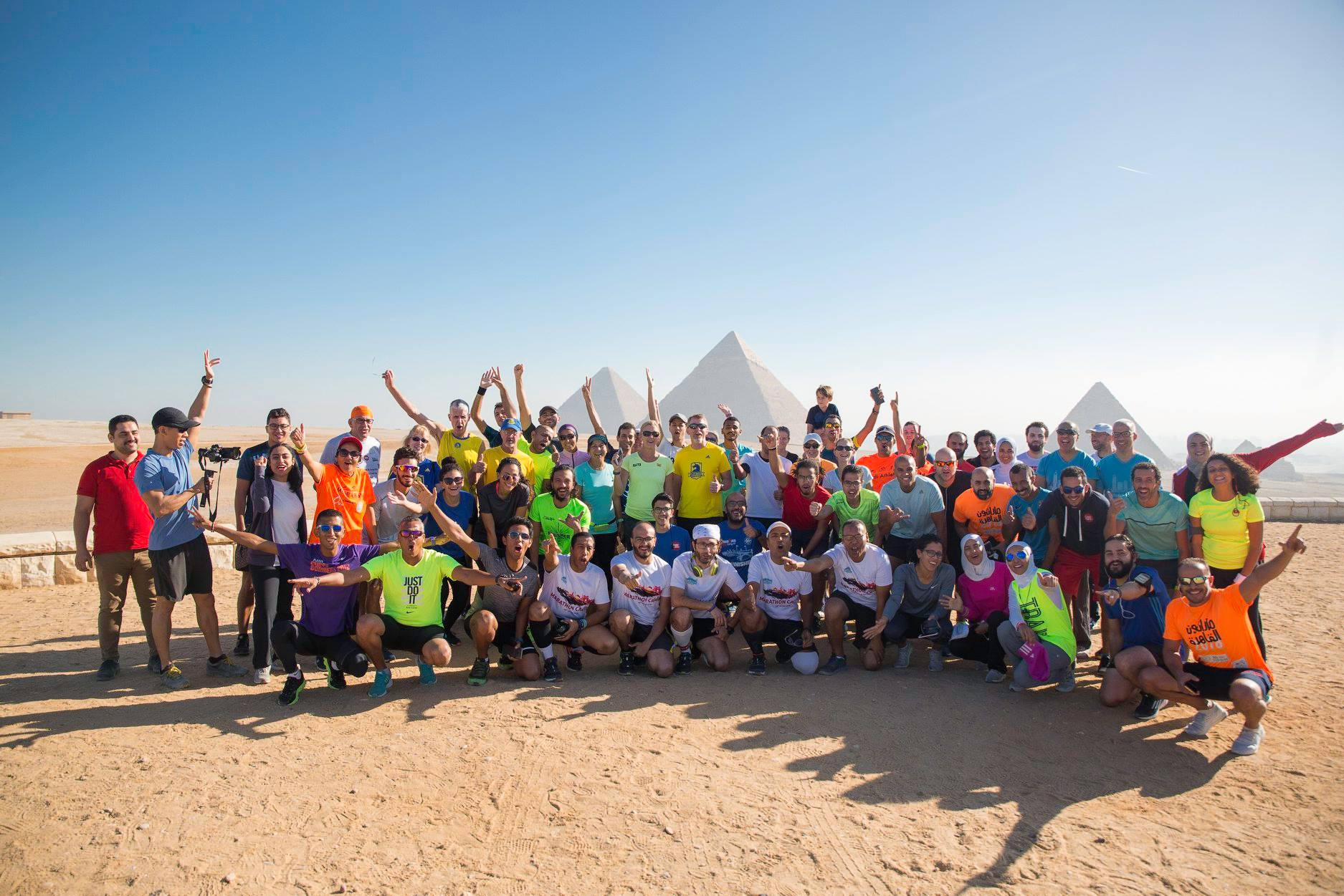 Sports Envoys and participants in the shadows of the Pyramid of Giza outside Cairo, Egypt. 2018.