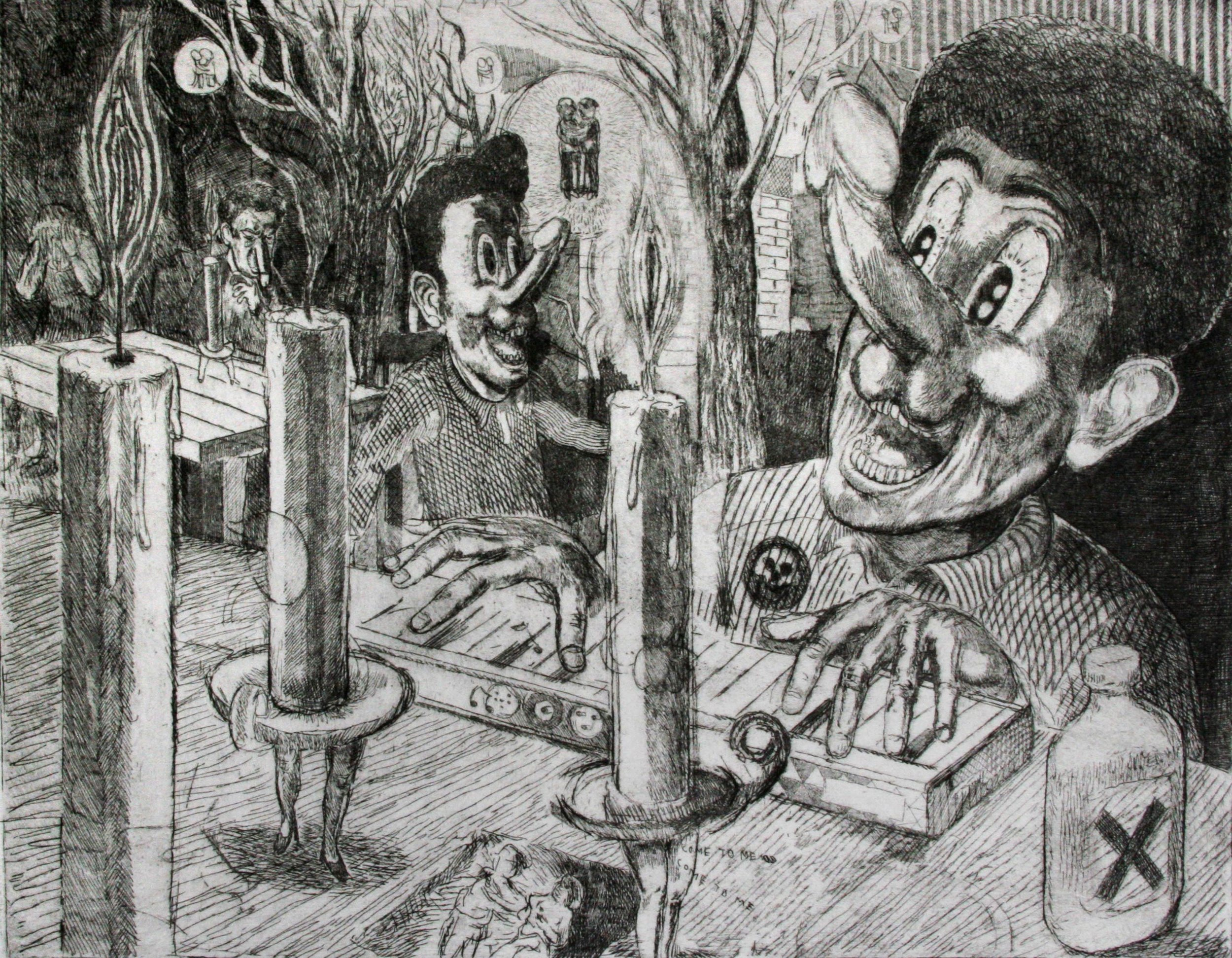 """Mr Dicky and the Candle Ladies"" 2012   Engraving and etching on paper. 29 x 39 cm"