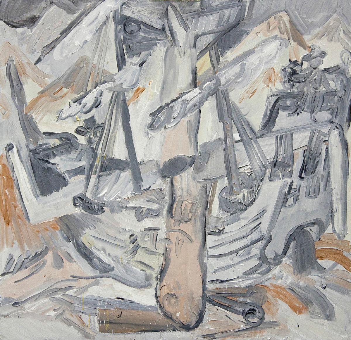 'Conquerors' 2016   Oil on canvas. 87 x 88 cm