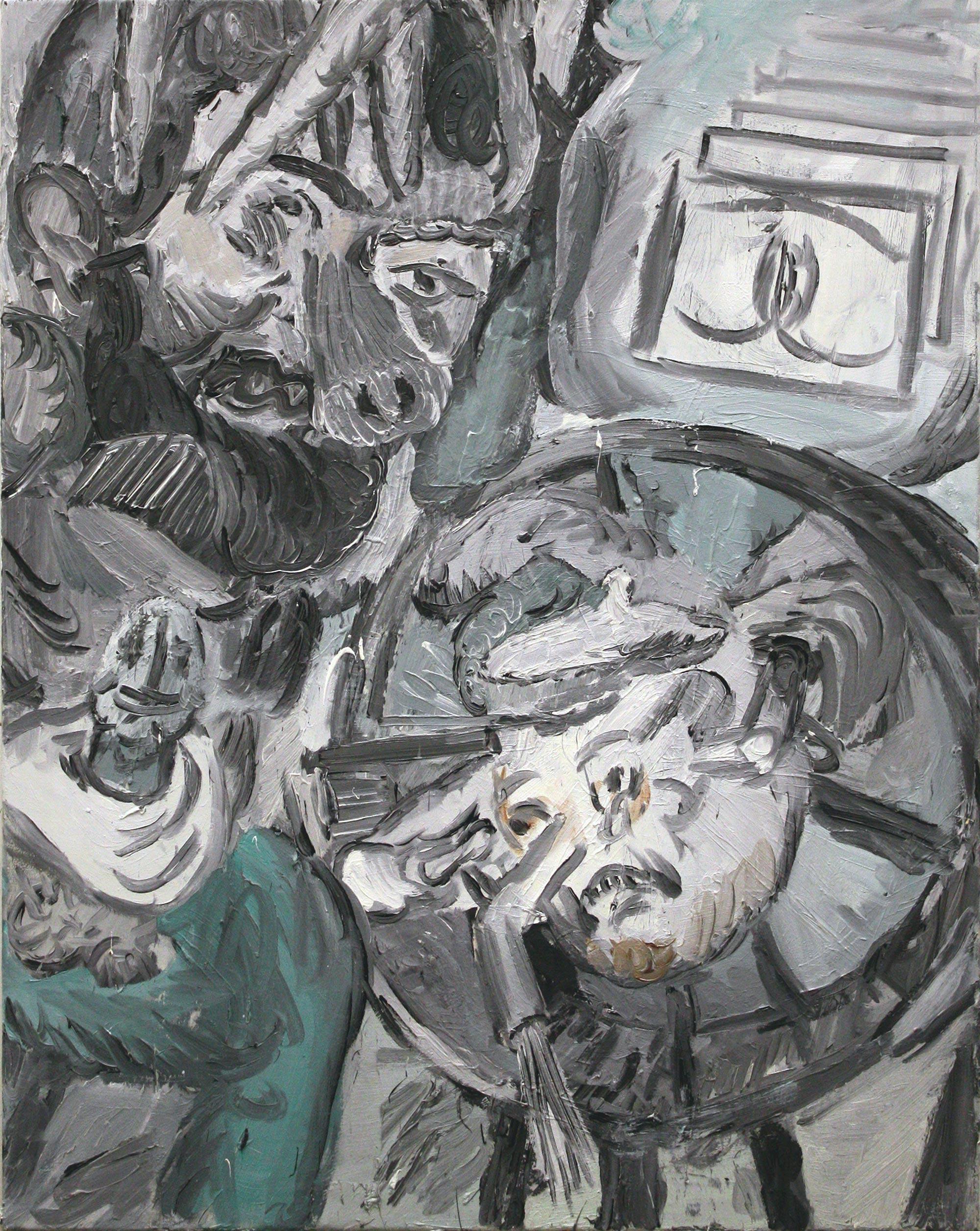 'Onan the boiling teapot' 2016   Oil on canvas. 80 x 100 cm