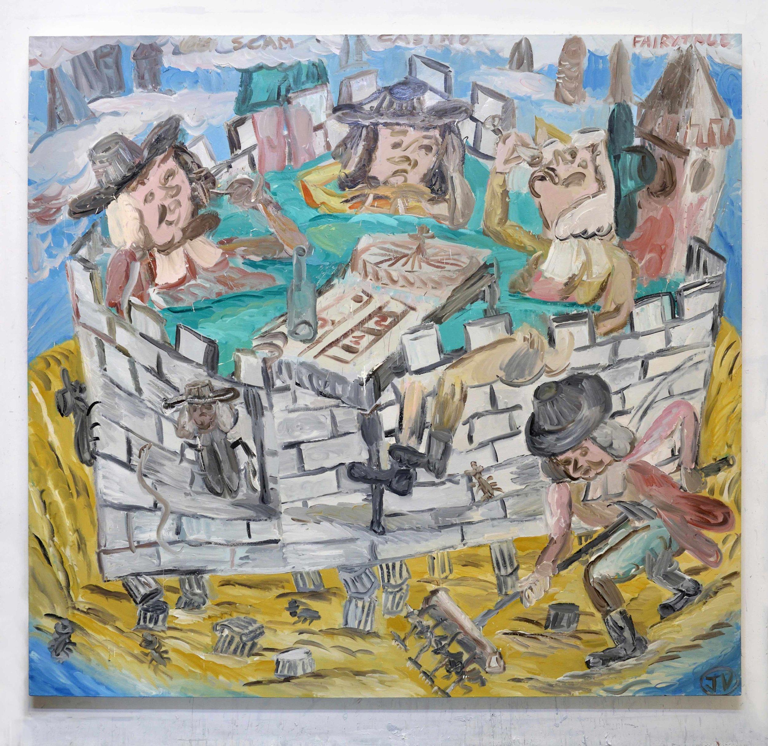 'The Castle (Scam Casino Fairytale)' 2017   Oil on linen. 185 x 200 cm