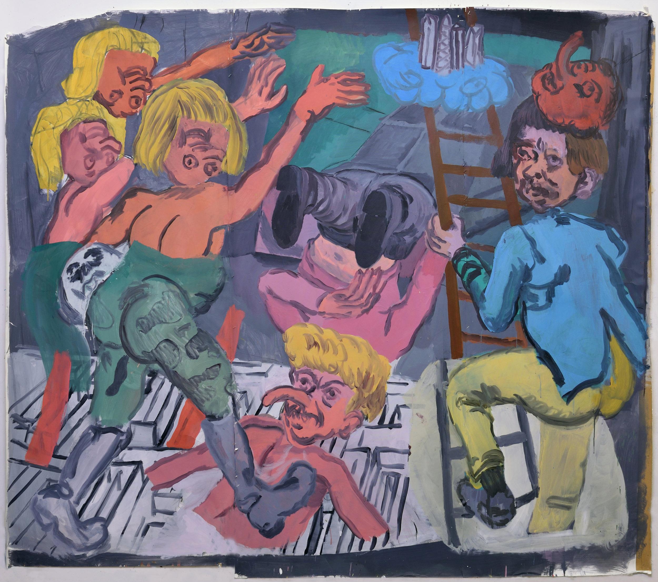 Subir y bajar (rise and fall), 2015. Acrylic on paper. 190 x 230 cm (aprox).JPG