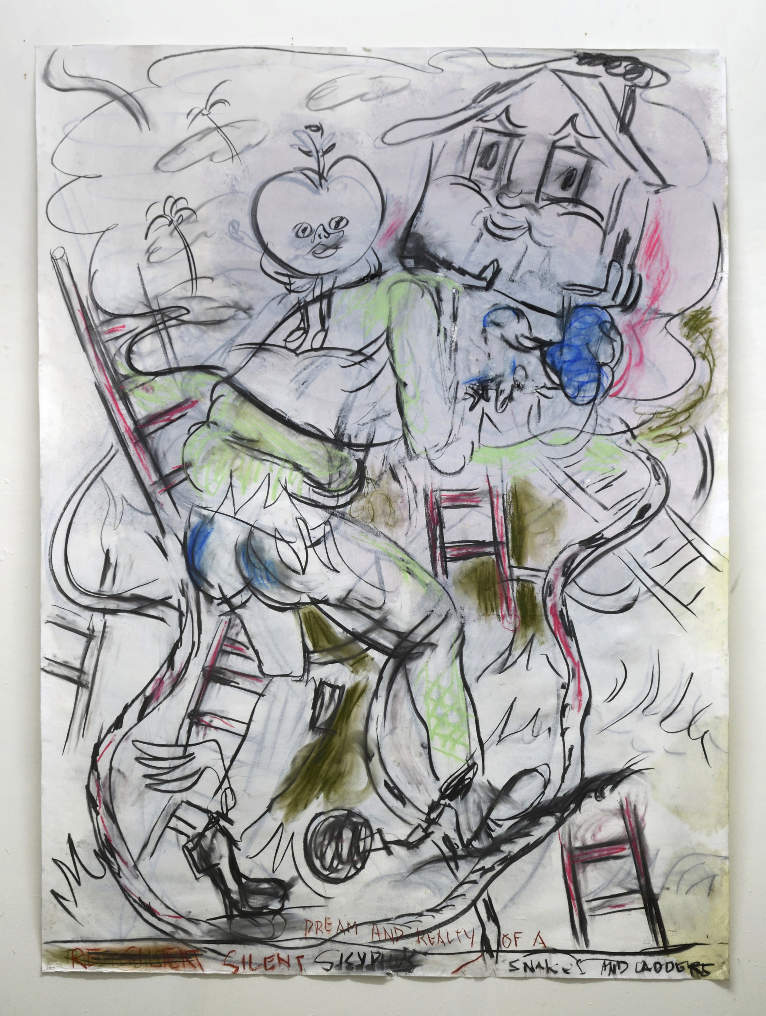 'Dream and Reality of a silent Sisyphus' 2018   Charcoal and pastel on paper. 200 x 150 cm