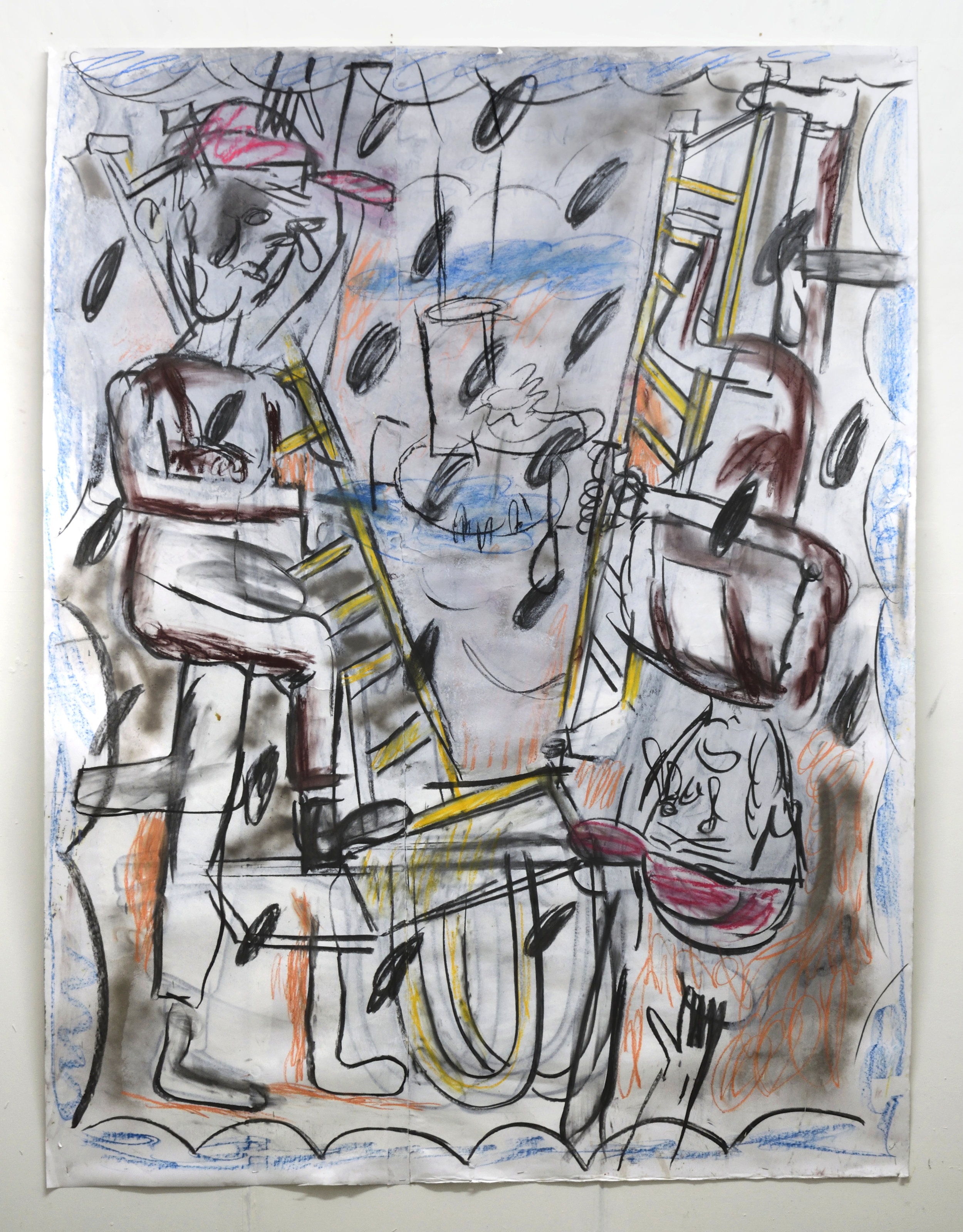 'The golden ladder of service' 2018   Charcoal and pastel on paper. 200 x 150 cm