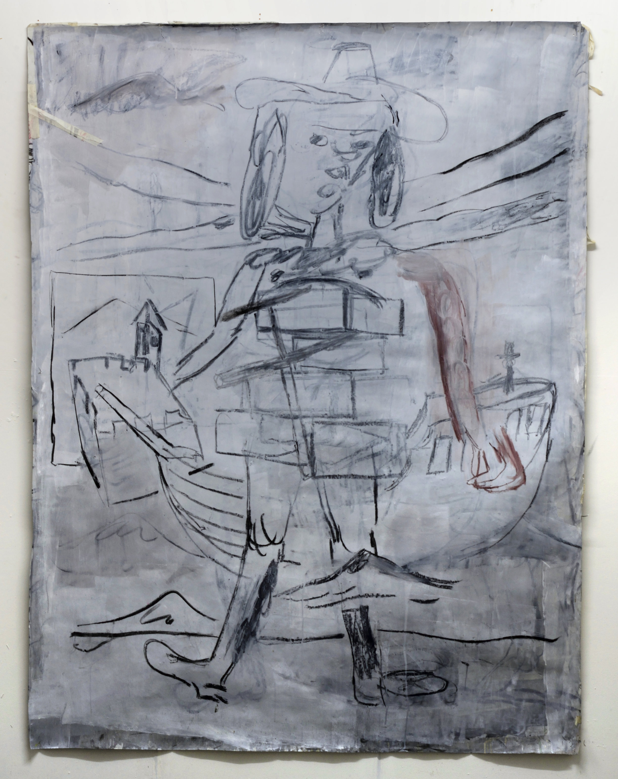 'Interzone Pioneer' 2018   Charcoal and pastel on paper. 200 x 150 cm