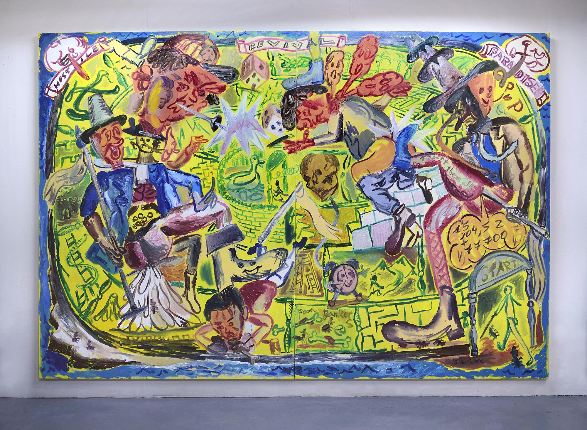 'Hostile Revival Paradise' 2019   Oil on canvas. 200 x 300 cm