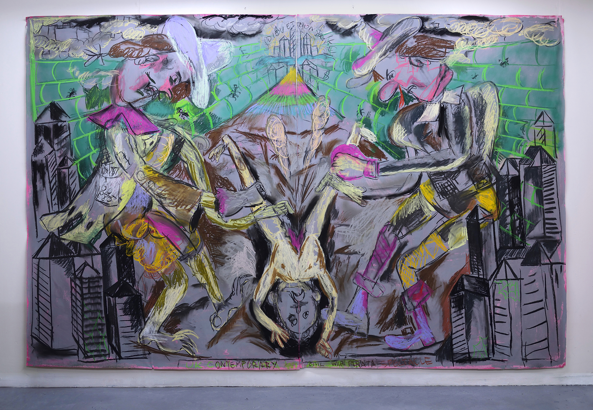 'Pinata' 2019   Charcoal and pastel on paper. 200 x 300 cm