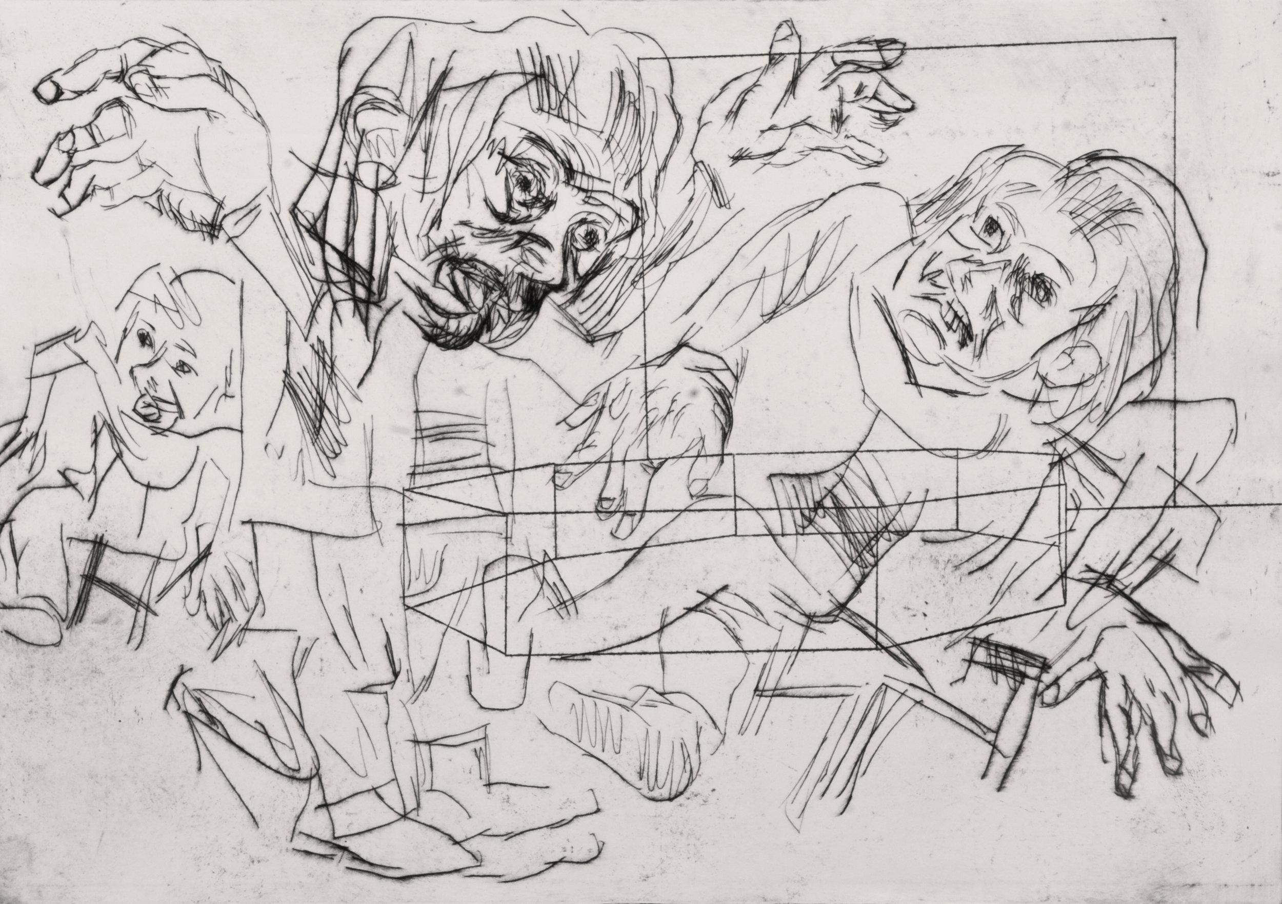 'Adolfa's Cave, Second' 2014   Monoprint on paper. 30 x 40 cm