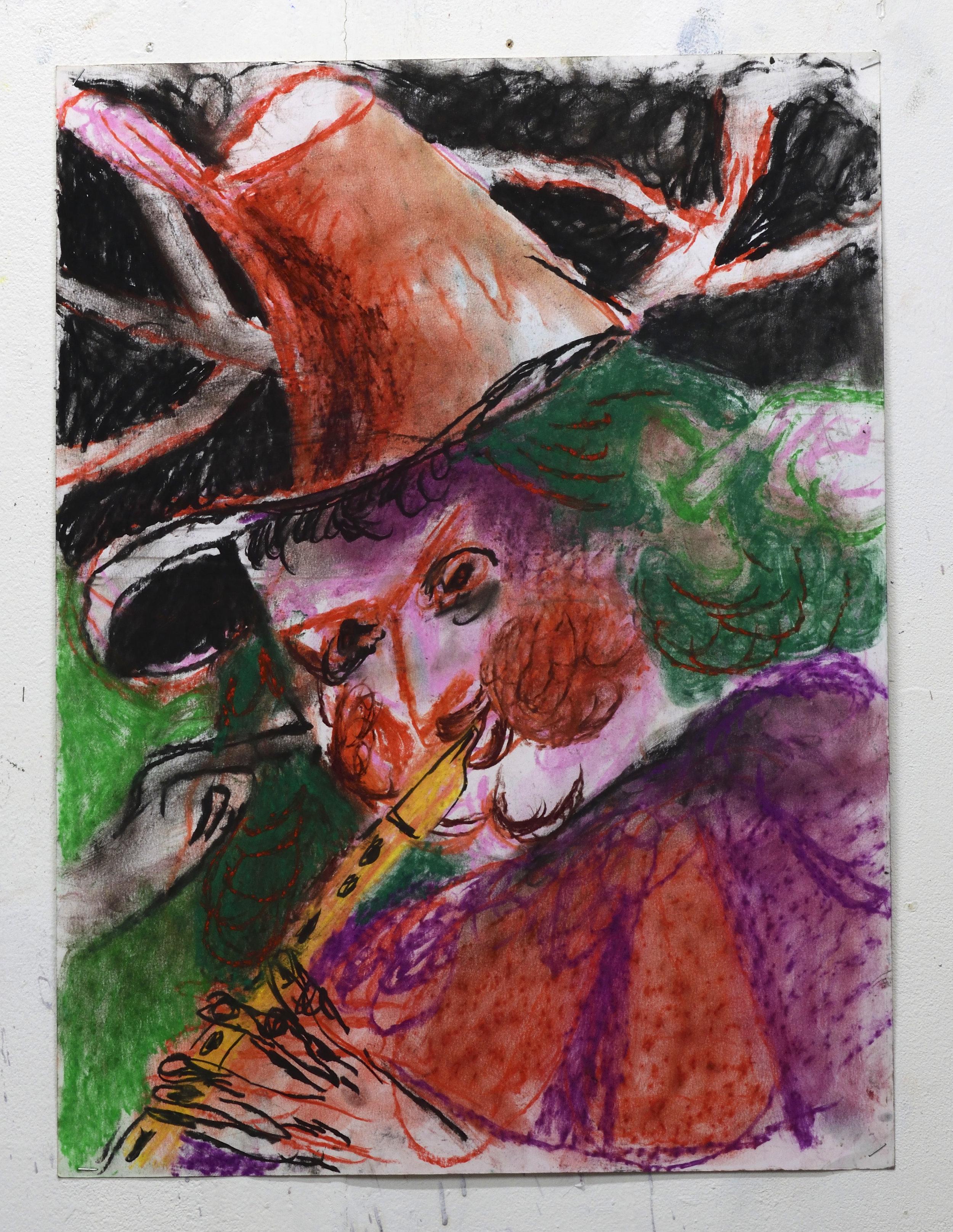 'Deaf Piper' 2018   Pastel on paper. 60.5 x 45 cm