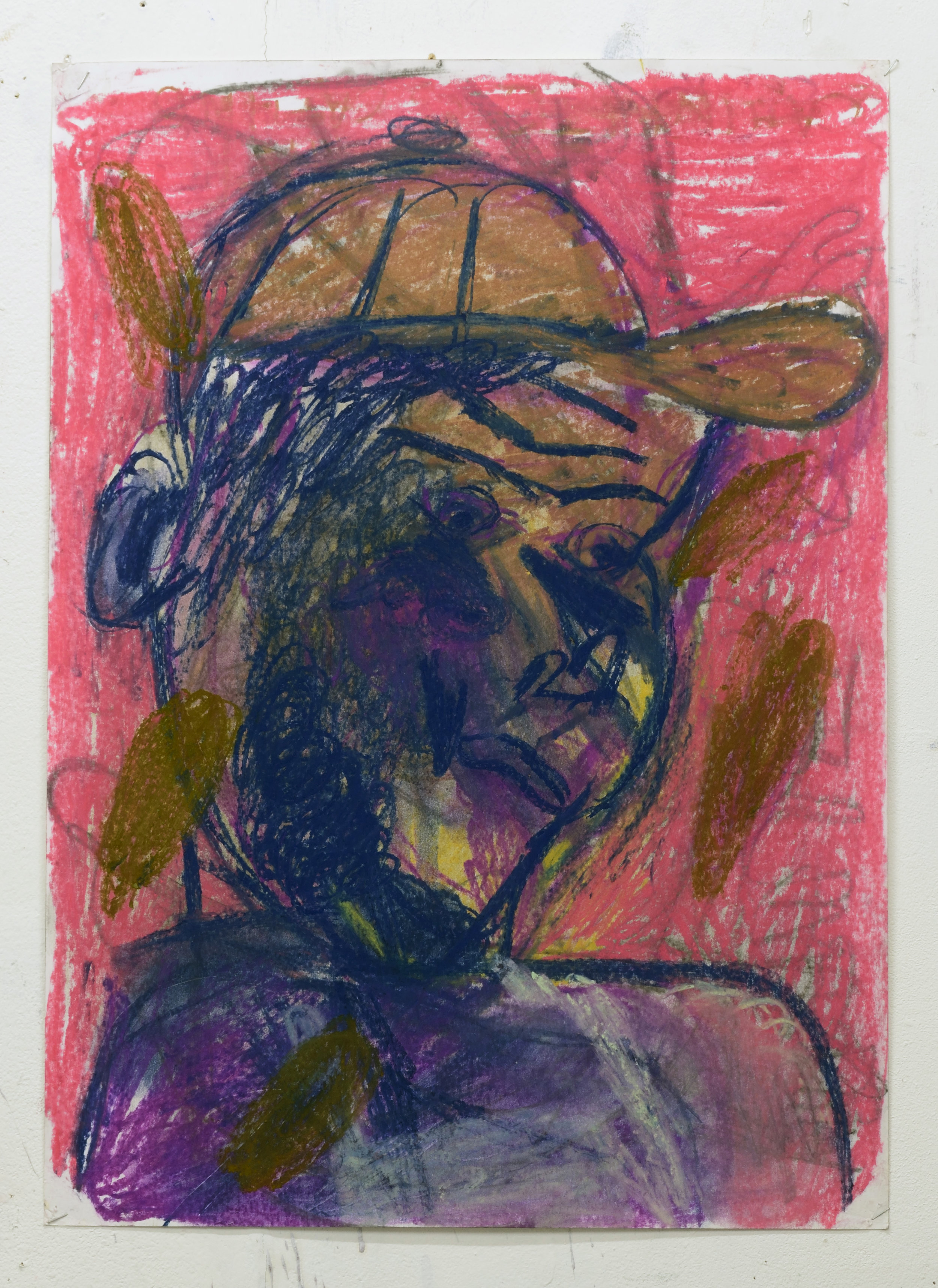 'Servant (red)' 2018   Pastel on paper. 63 x 45 cm