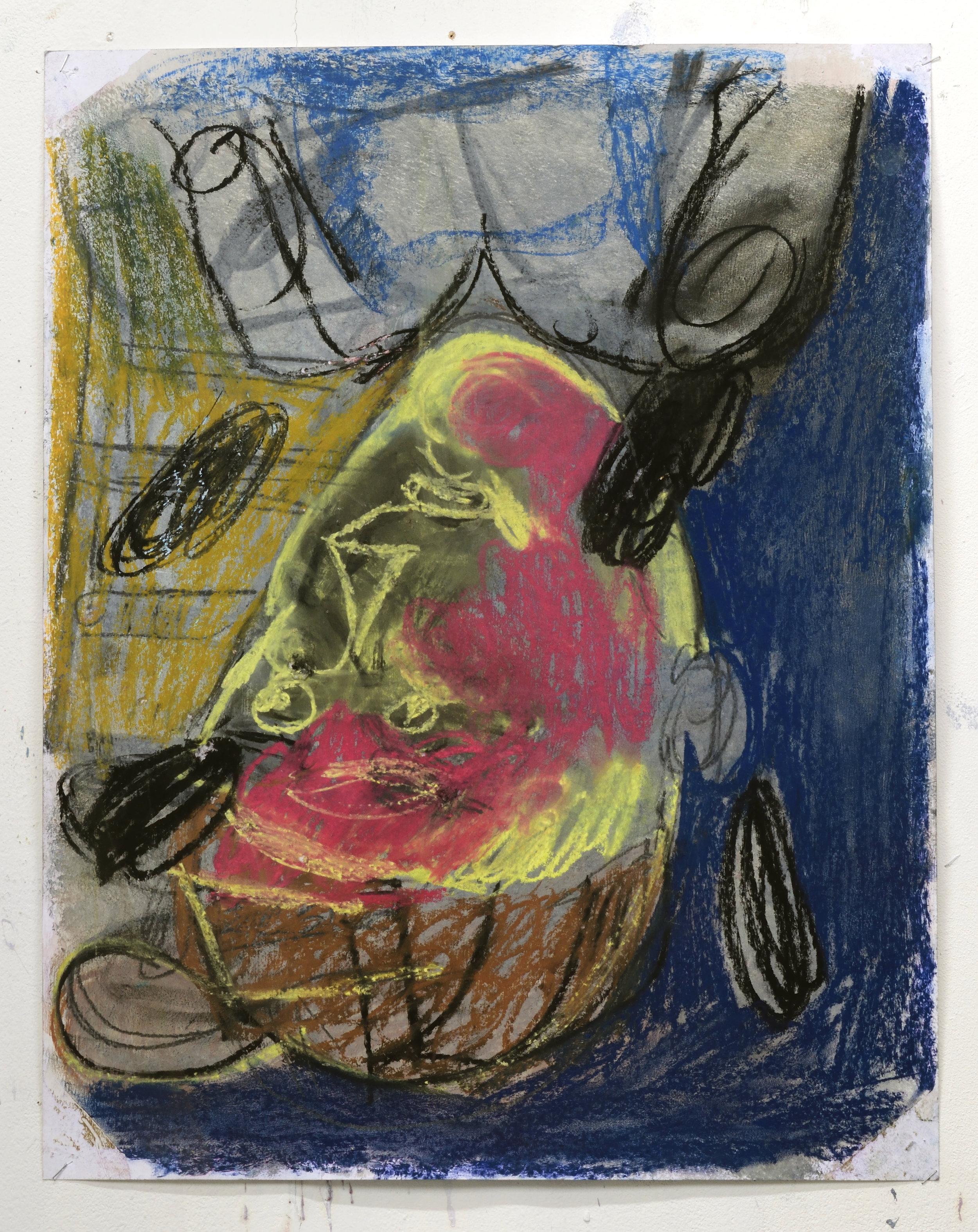 'Servant' 2018    Pastel on paper. 64.7 x 51 cm
