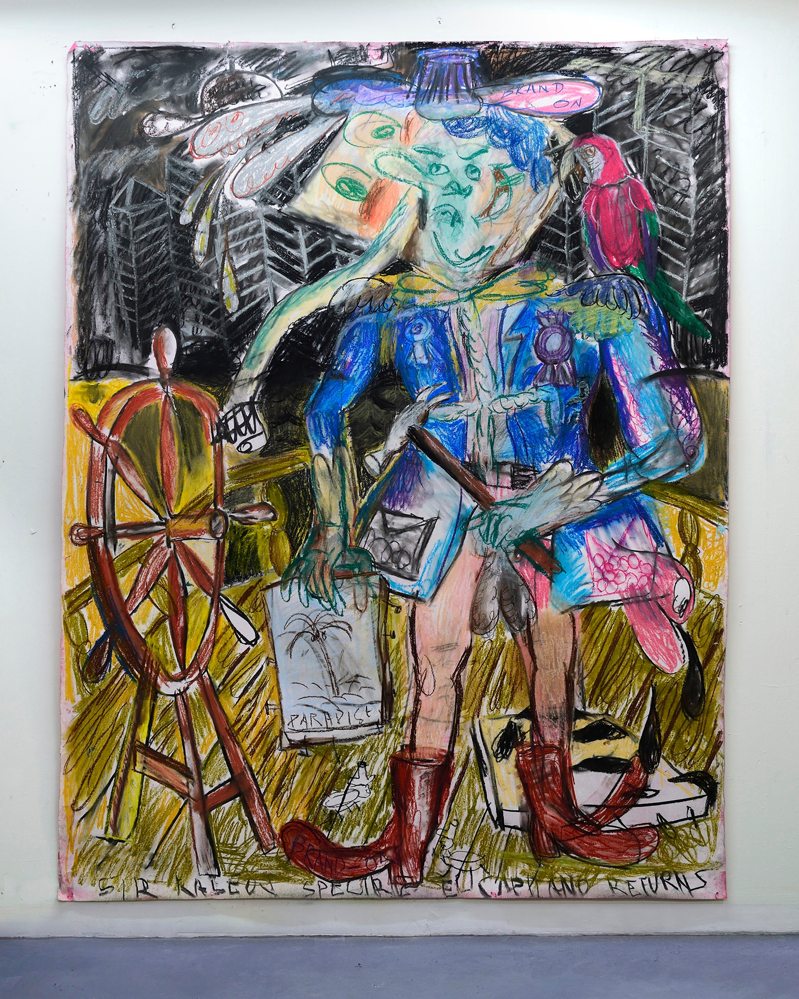 'El Capitan Talisman strikes back (Brand On) 2019   Charcoal and pastel on paper. 200 x 150 cm