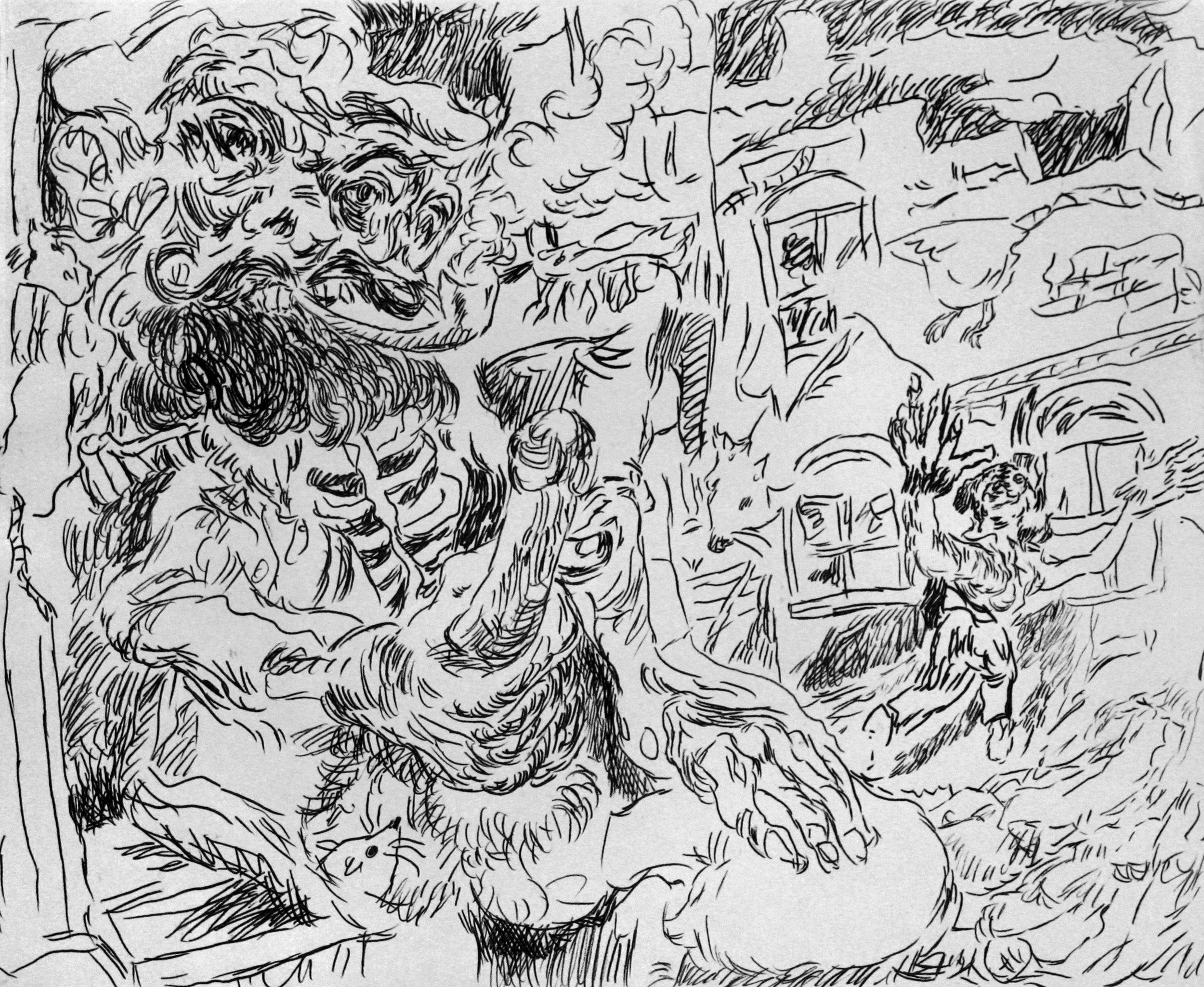 'Ghost Sermon, page 4' 2016   Monoprint on paper. 40 x 30 cm