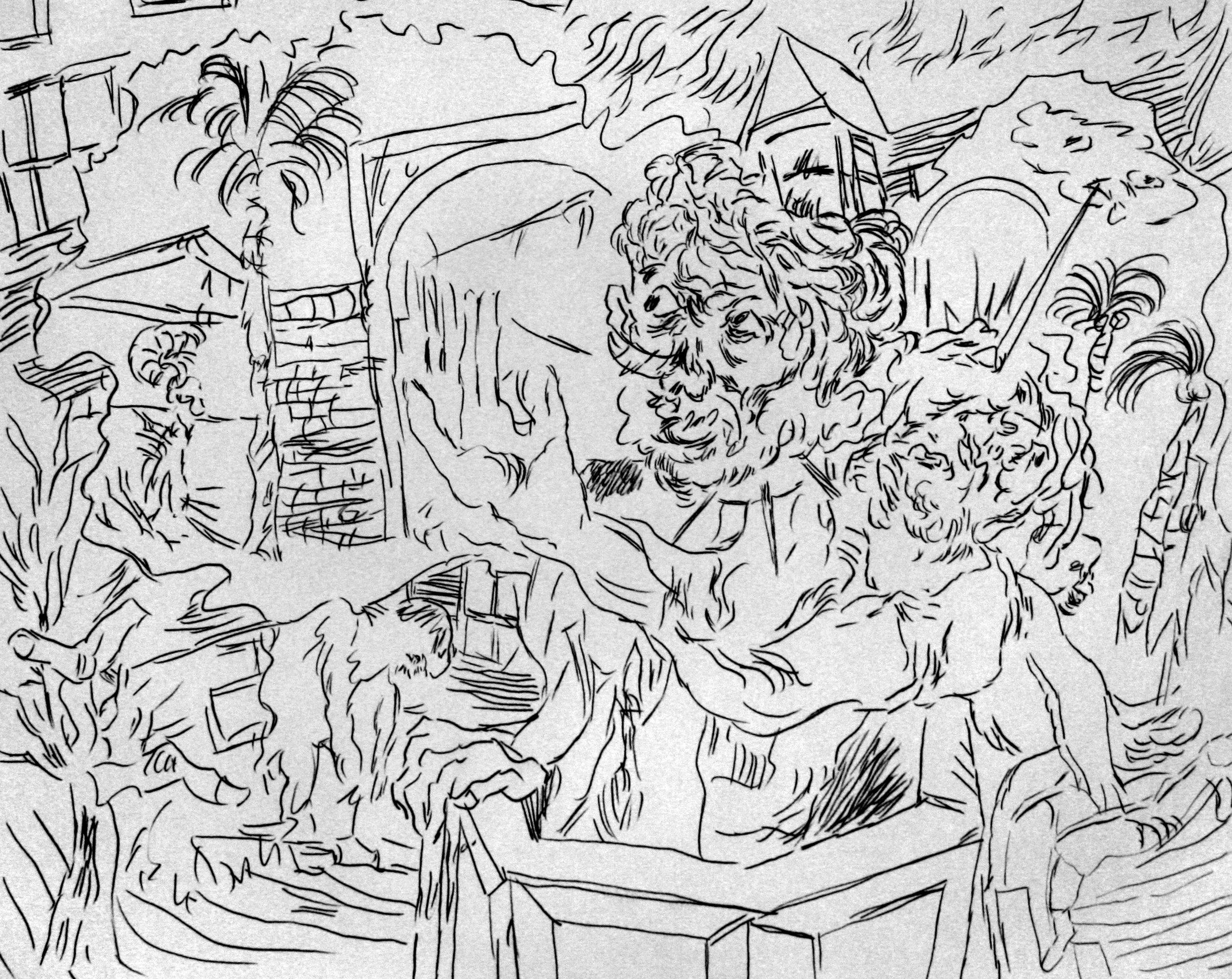 'Ghost Sermon, page 1' 2016   Monoprint on paper. 40 x 30 cm