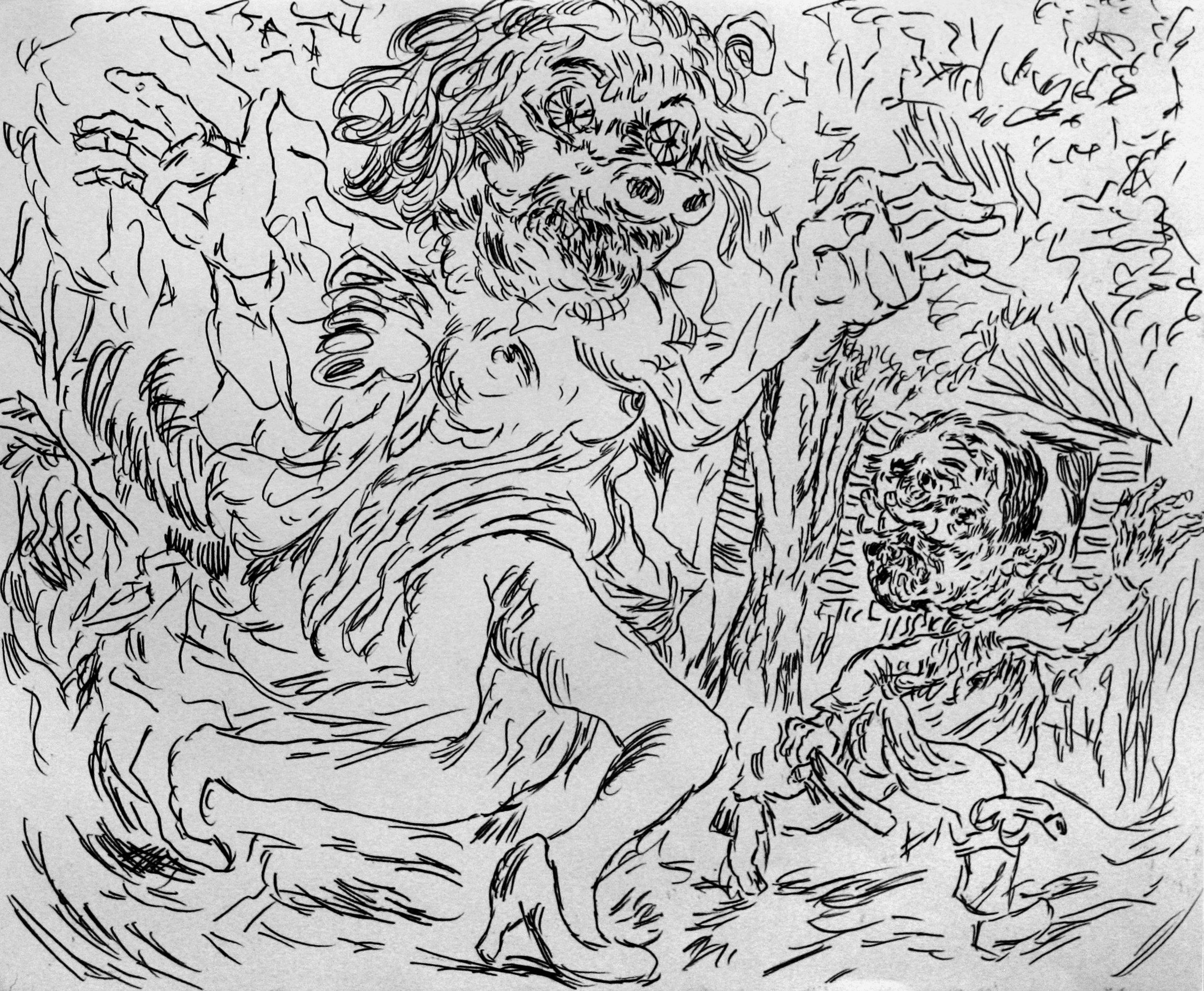 'Ghost Sermon, page 5' 2016   Monoprint on paper. 40 x 30 cm