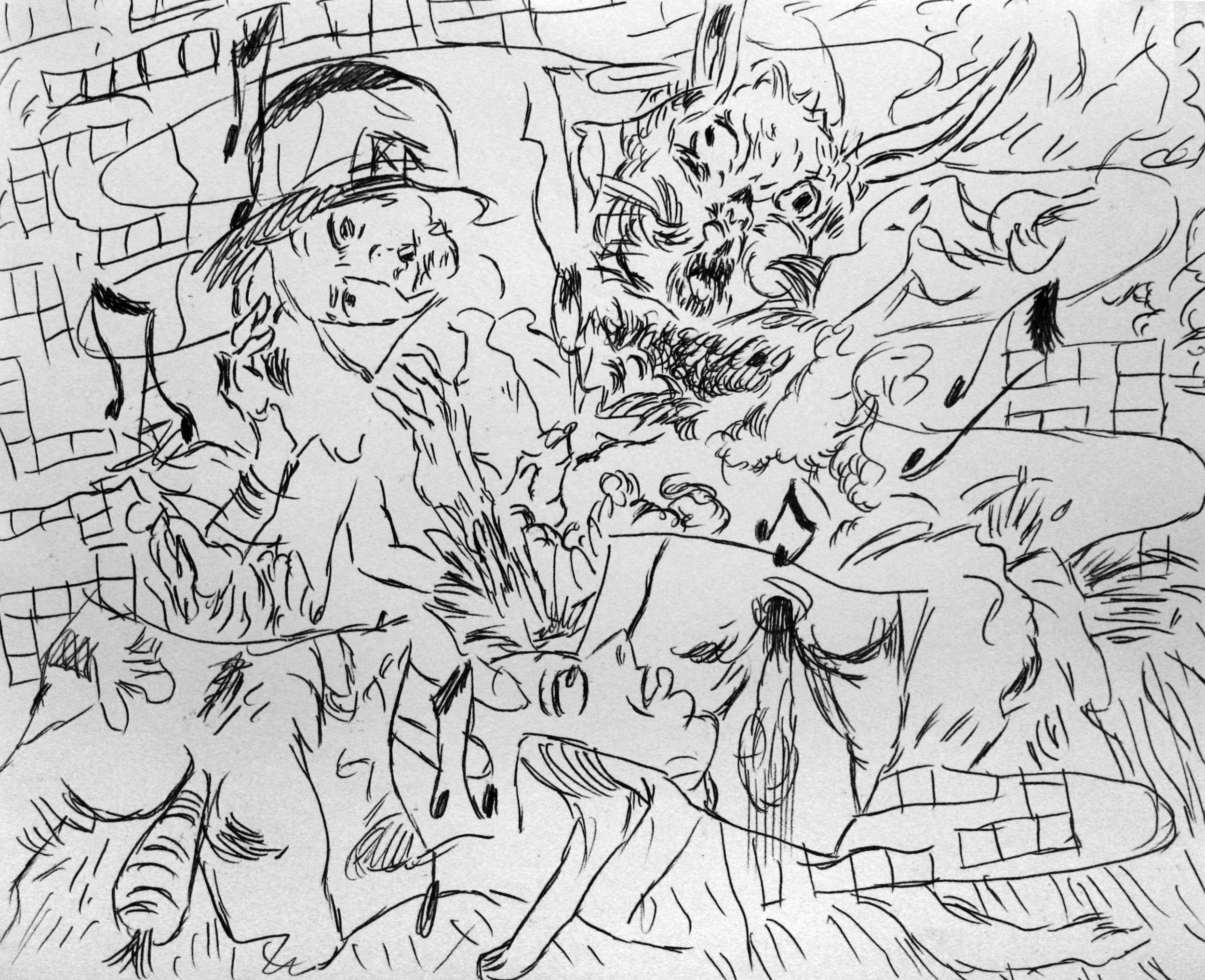 'Ghost Sermon, page 9' 2016   Monoprint on paper. 40 x 30 cm