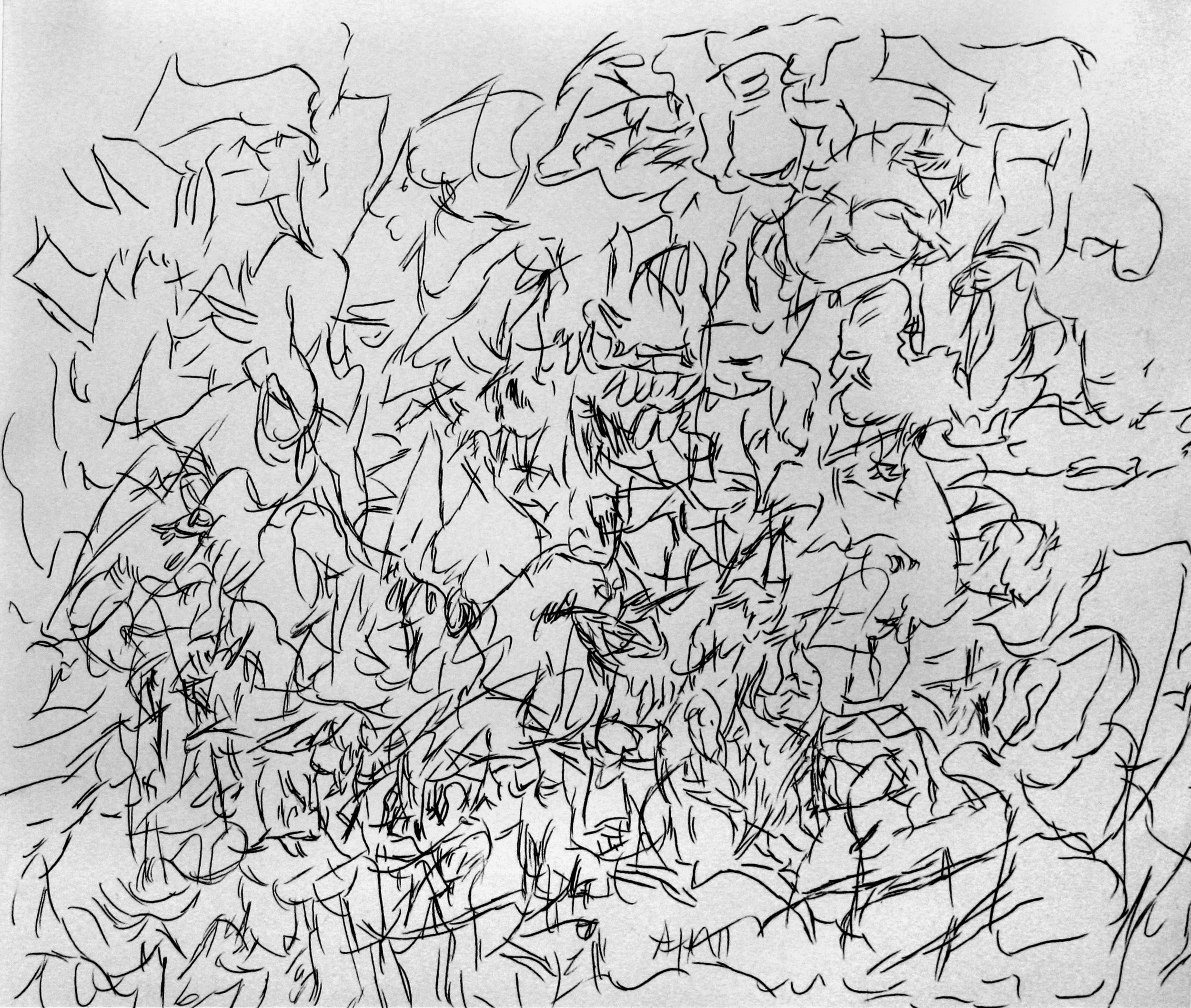 'Ghost Sermon, page 11' 2016   Monoprint on paper. 40 x 30 cm