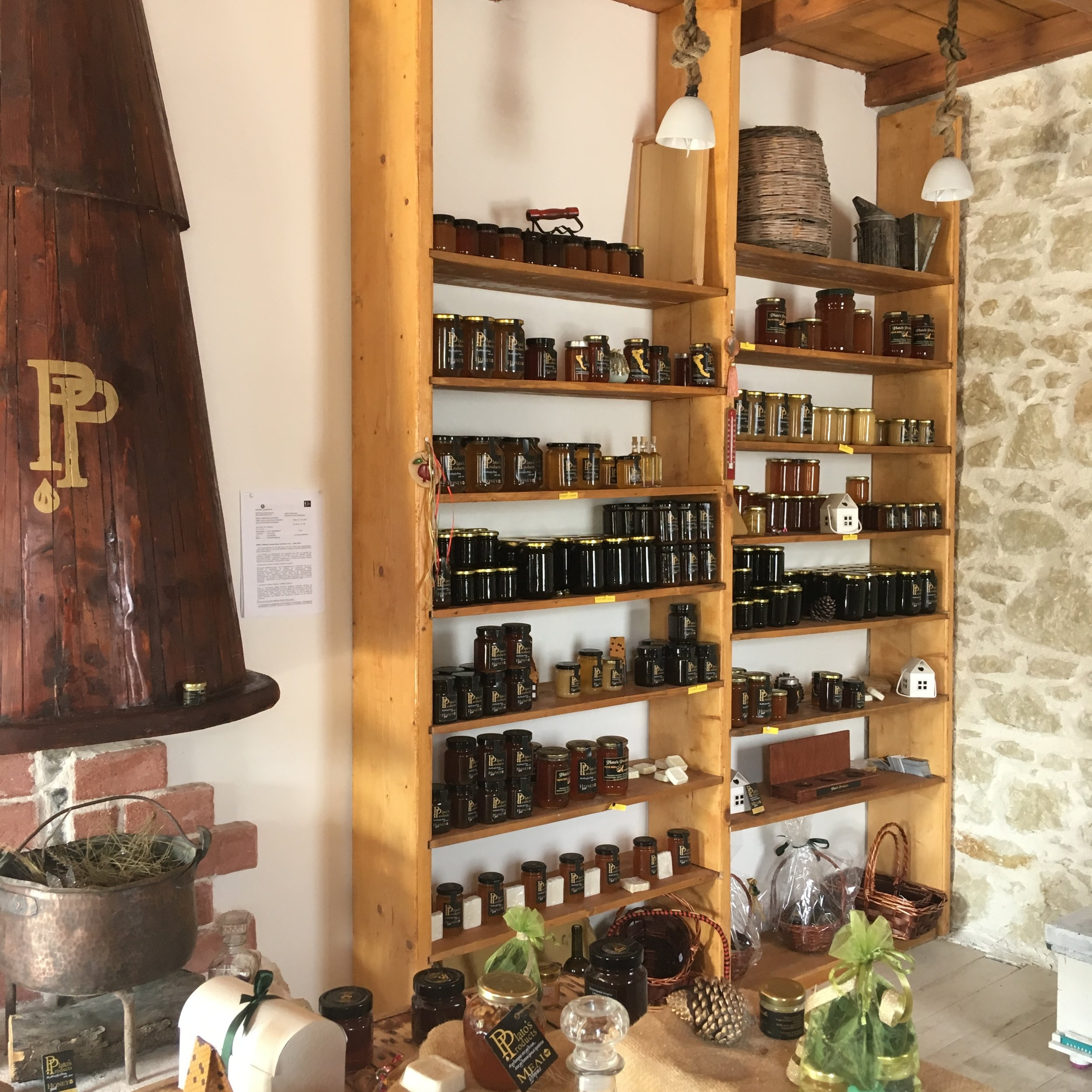 Honey-lovers, look away…unless you're planning a trip to northern Corfu. Some of the many varieties of honey produced by Plato's Products. I can vouch for their quality!