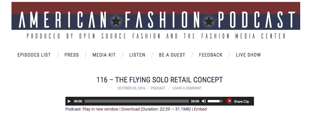 Flying Solo  American Fashion Podcast