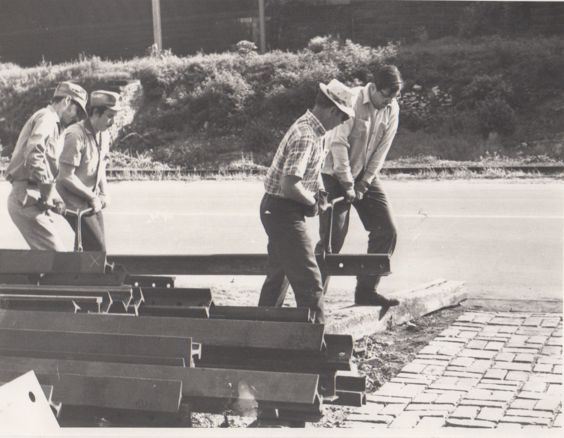 Laying streetcar track at the museum, June 1970. Image Credit: Mike Farrell