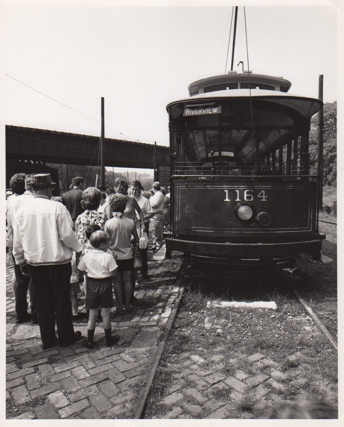 Crowds line up to ride the streetcars, opening day of the Baltimore Streetcar Museum, July 3, 1970. Image Credit: B L Braun