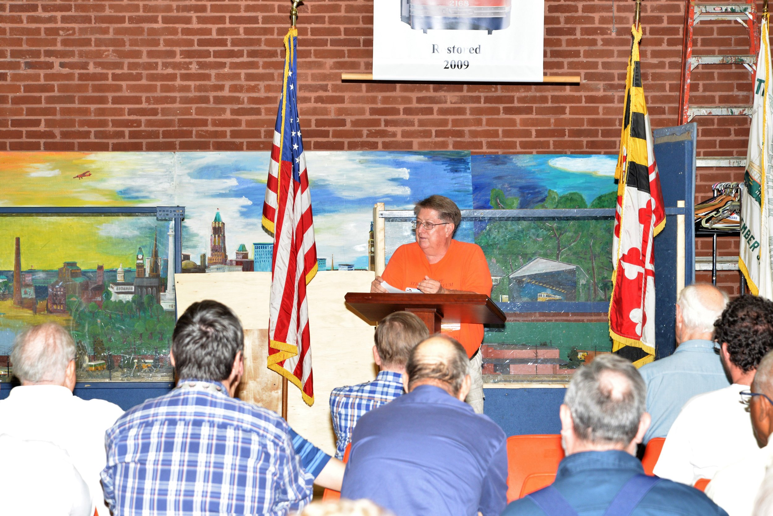 BSM Member #15, John V. Engleman, reports on restoration efforts for Car 7303 at the BSM Annual Membership Meeting, 9:16:2017, Jim Walsh.JPG