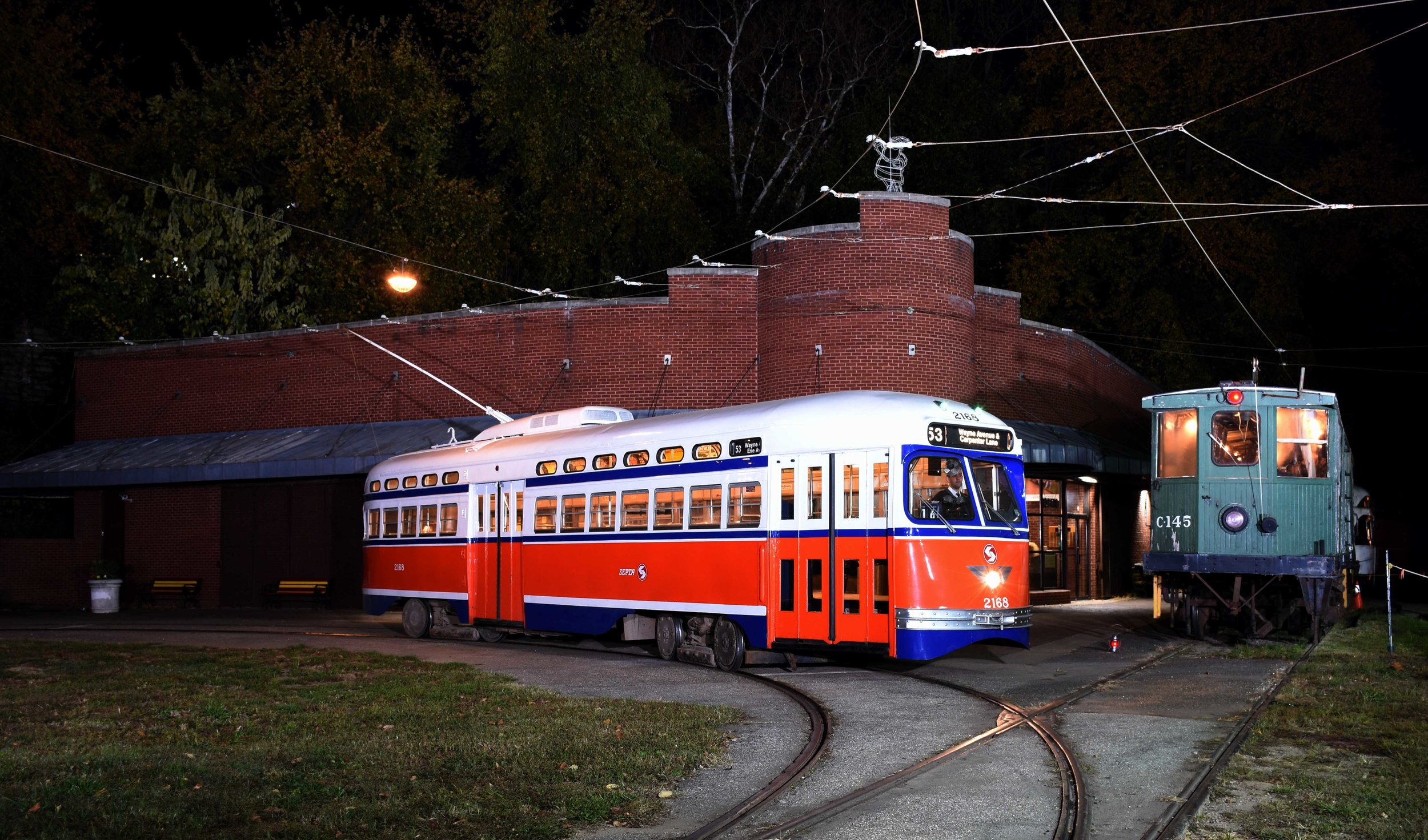 "Friends of Philadelphia Trolleys ""$20 Day"" at the Baltimore Streetcar Museum, November 5, 2016. Flash lighting provide by Bruce Barry, Steve Barry and Michael Burkhart Image Credit: Bill Monaghan"